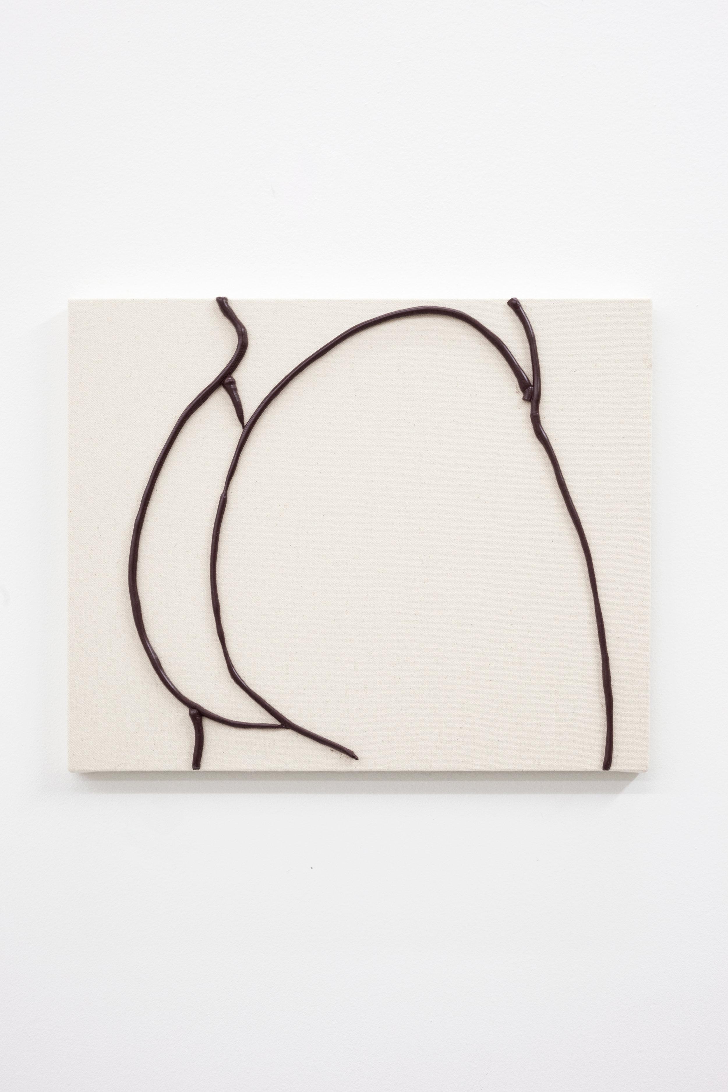 Omari Douglin,  Untitled (Butt Painting),  2019, Caulk on Raw Canvas, 13x16in