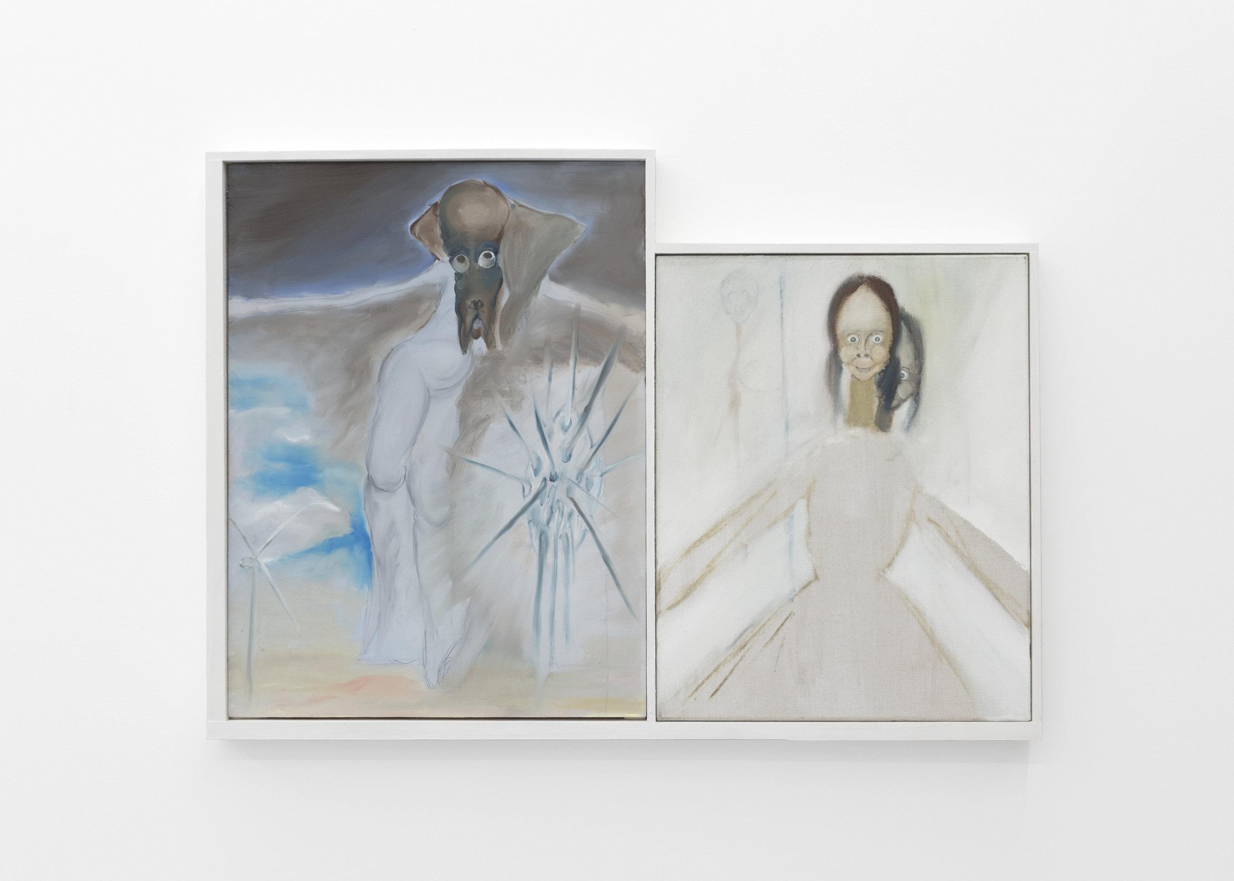 Kira Scerbin,  Destroyer,  2019. Oil on linen, oil on panel, artist frame
