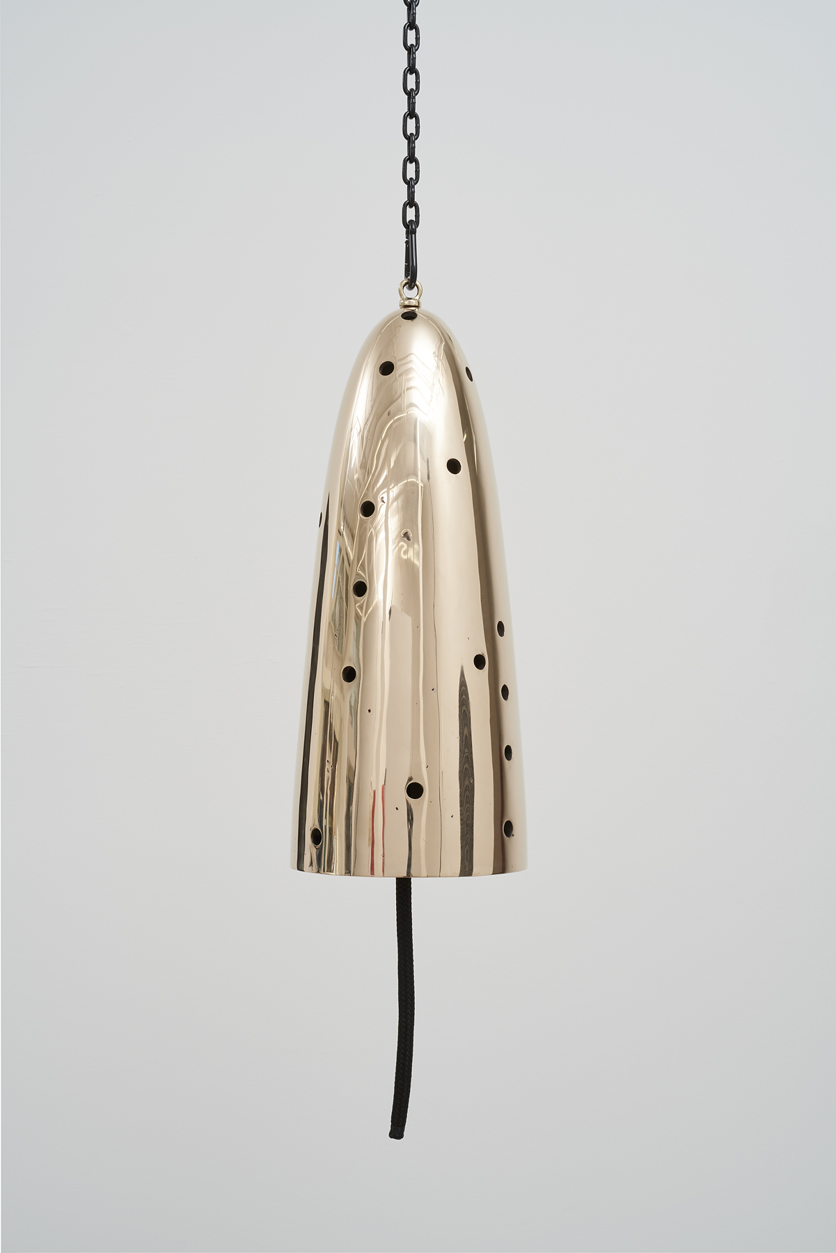 Davina Semo,  Messenger , 2019, Polished and patinated cast bronze bell, whipped., nylon line, wooden clapper, powder-coated chain, hardware, Bell: 32 inches tall x 13 inches diameter / 81 cm tall x 33 cm diameter, overall dimensions variable