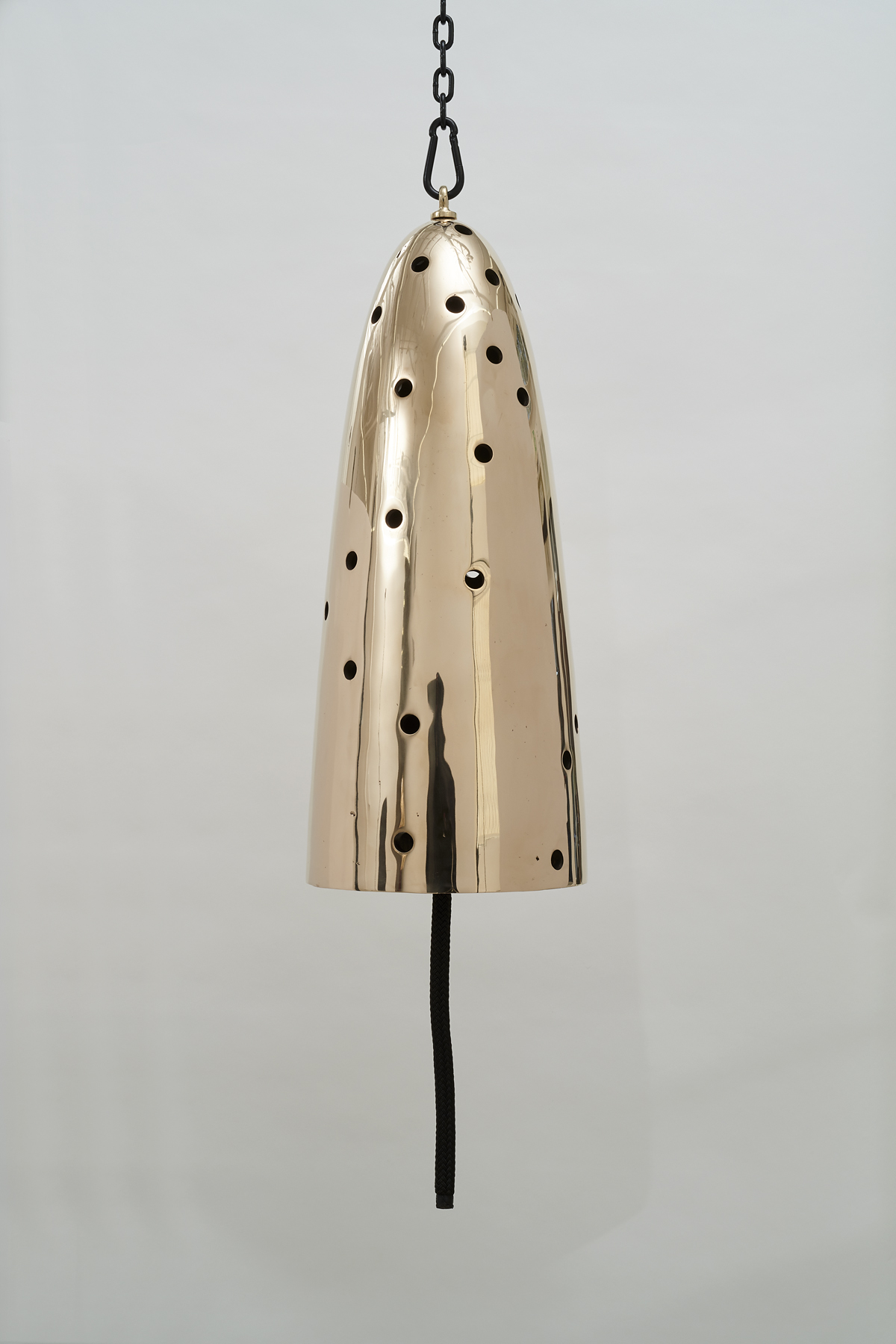 Davina Semo,  Seducer , 2019, Polished and patinated cast bronze bell, whipped., nylon line, wooden clapper, powder-coated chain, hardware, Bell: 32 inches tall x 13 inches diameter / 81 cm tall x 33 cm diameter, overall dimensions variable