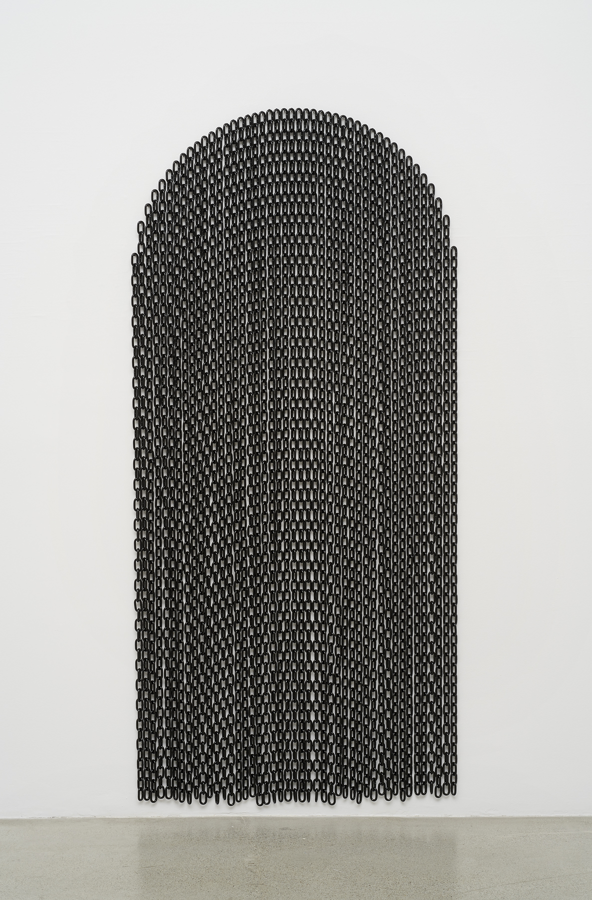Davina Semo,  Threshold , 2019, Powder coated steel chain and hardware, 85 x 40 inches / 215.9 x 101.6 cm