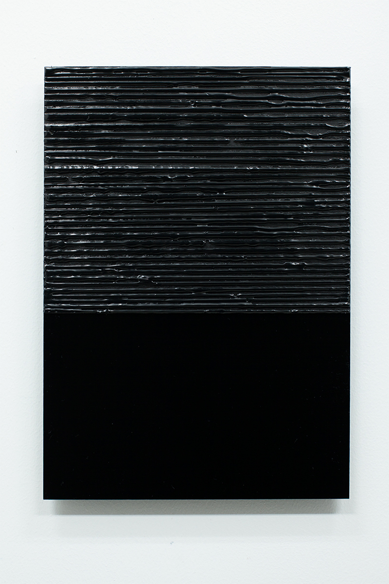 Anders Sletvold Moe. Black Letter # 90 (18 Days), 2014. Oil and acrylic on plexi glass. 8.27 x 11.69 inches.