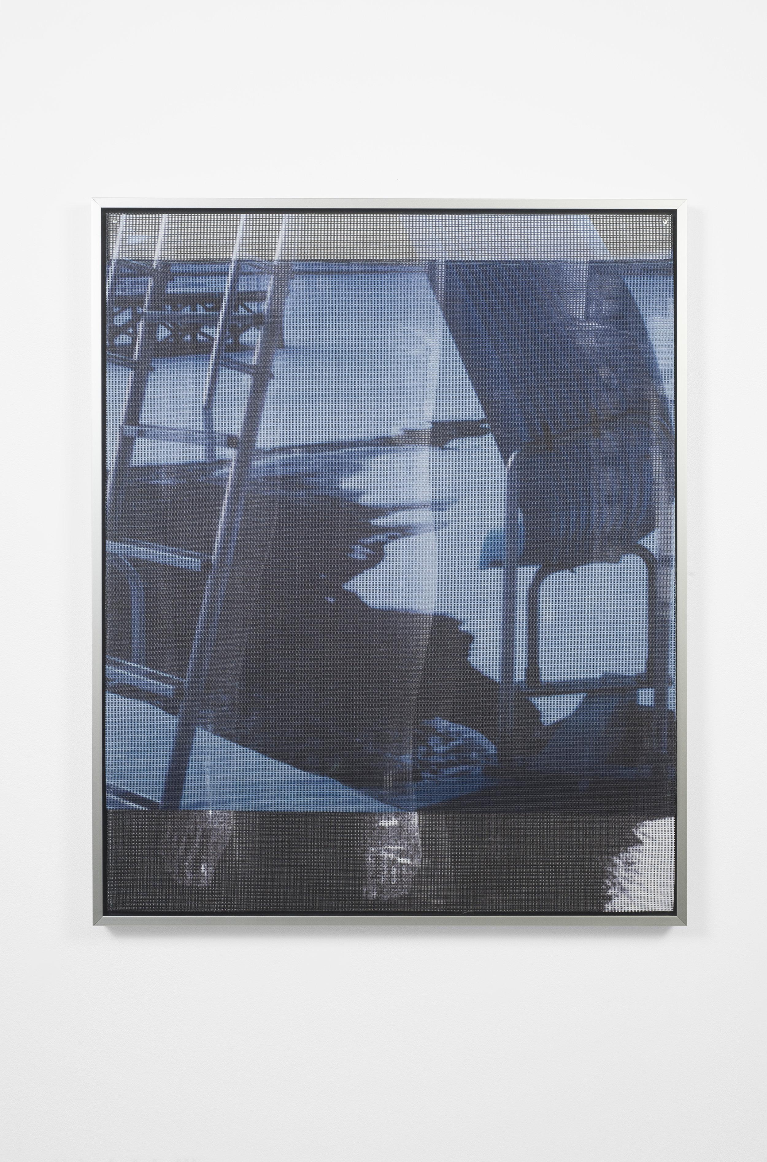 Ellie Hunter,  Syndrome of Subjective Doubles ii,  2019, UV inkjet print on vinyl mesh, 24.4 x 31.5 inches