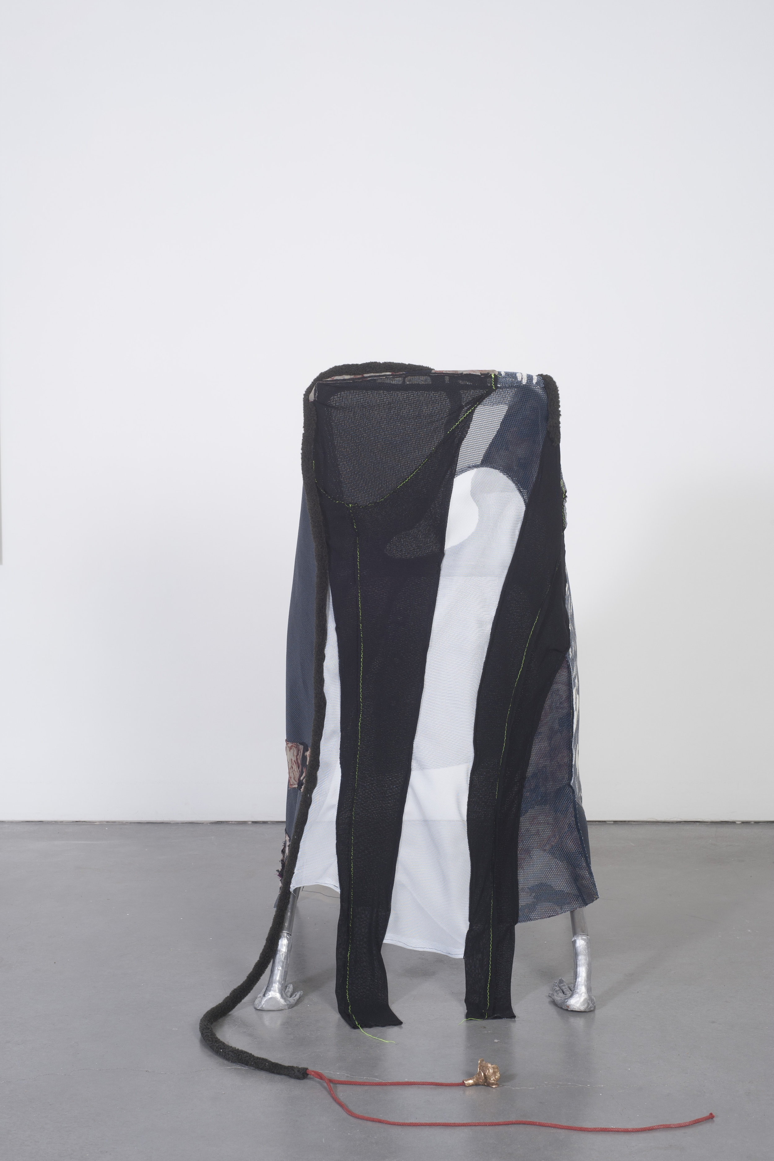 Ellie Hunter,  Trying it on , 2019, Cast aluminum, fabric, chair