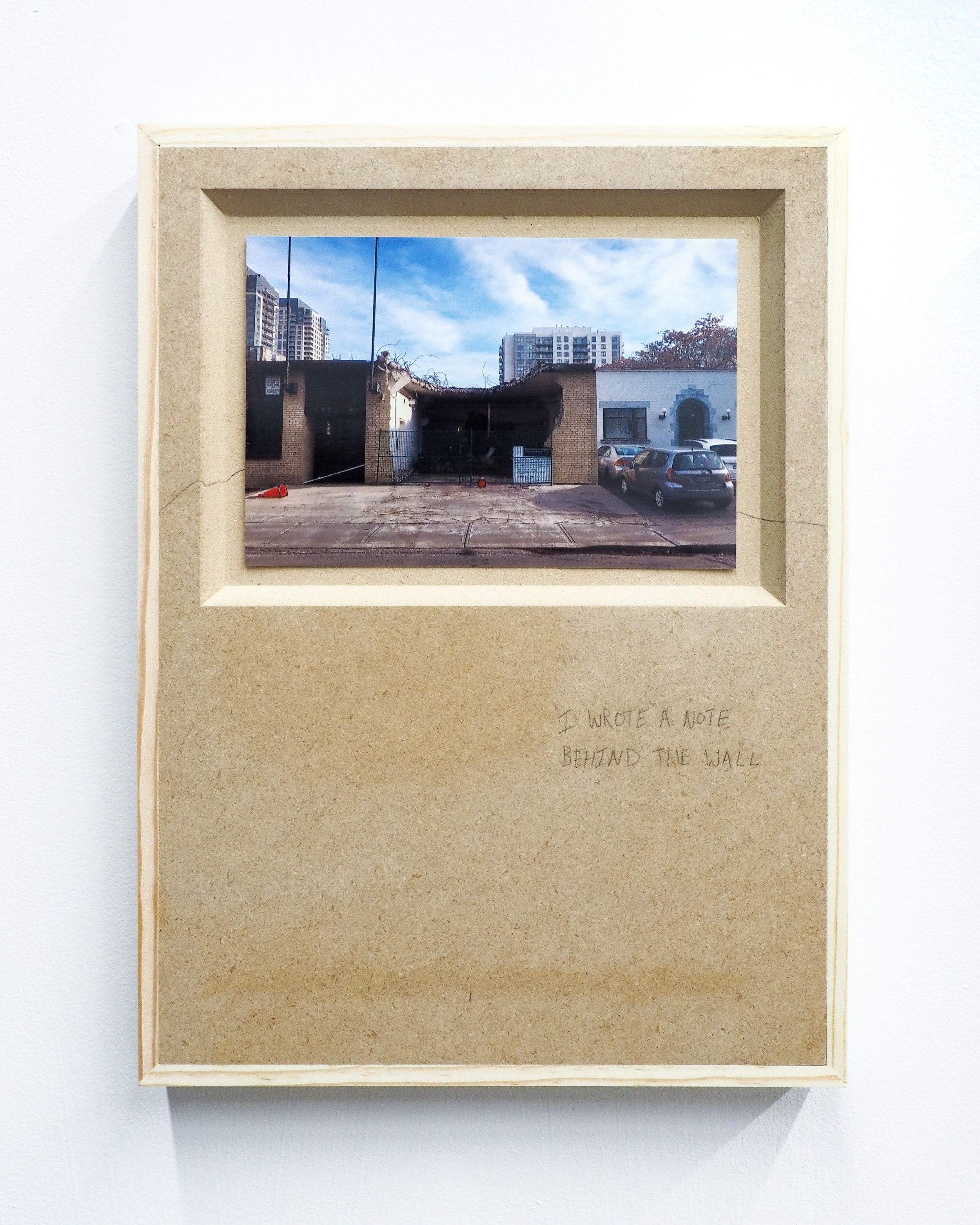 """Parker Kay,  I WROTE A NOTE BEHIND THE WALL,  2019 digital photograph (4""""x6"""") mounted on MDF panel with pencil drawing 11""""x9"""""""