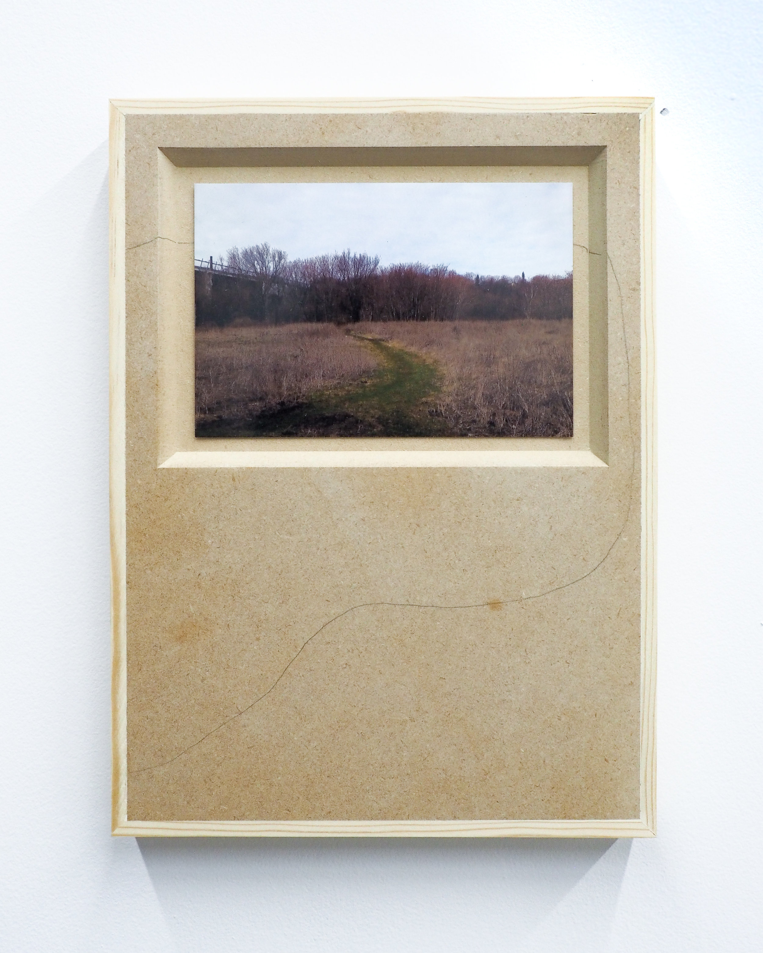 """Parker Kay,  A Desire Guide for Inverted Mountains,  2019, digital photograph (4""""x6"""") mounted on MDF panel with pencil drawing 11""""x9"""""""