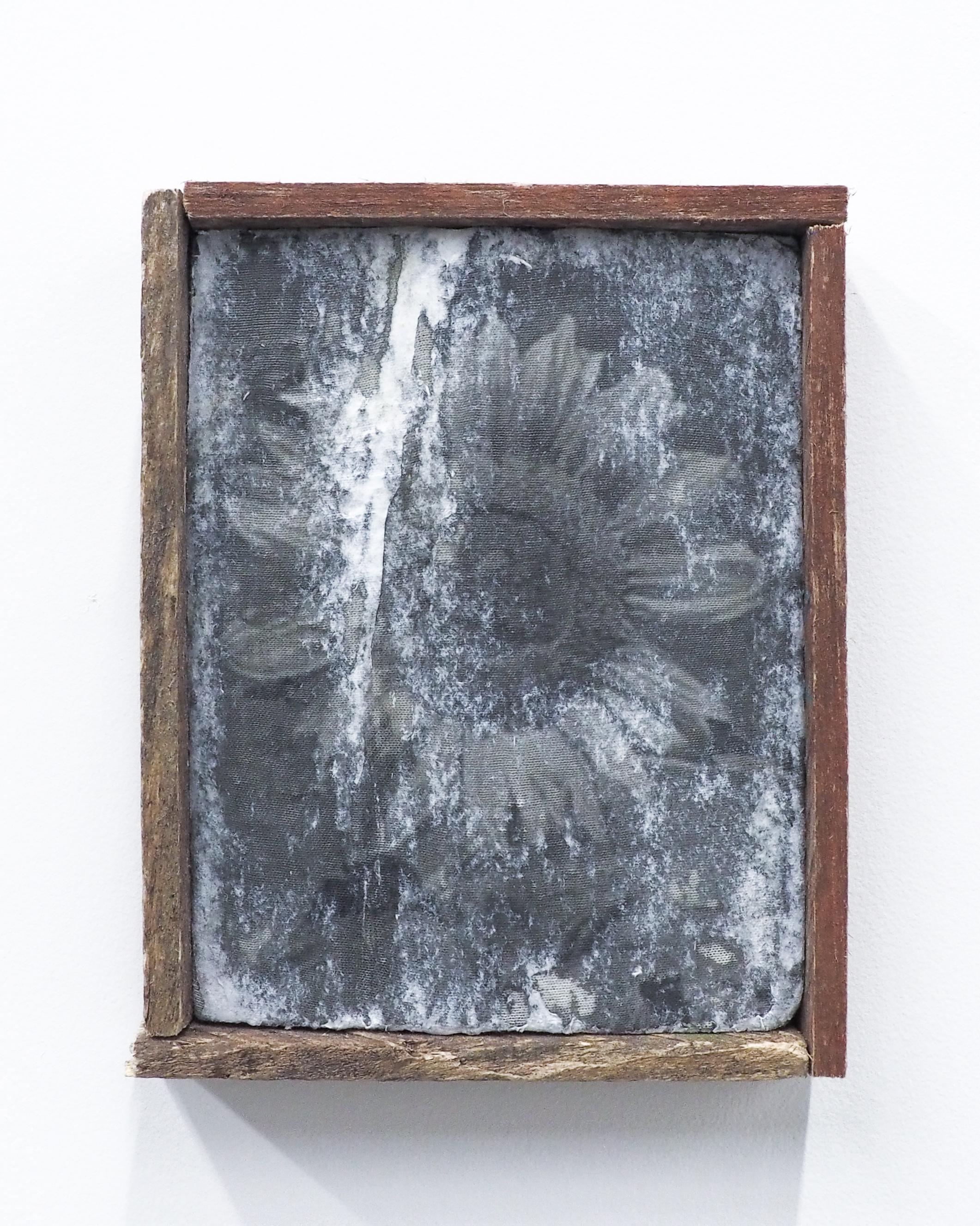 """Garrett Lockhart,  Little sunflower , 2019, laser print on cotton, found plank, salvaged wood 6"""" x 7.5"""""""