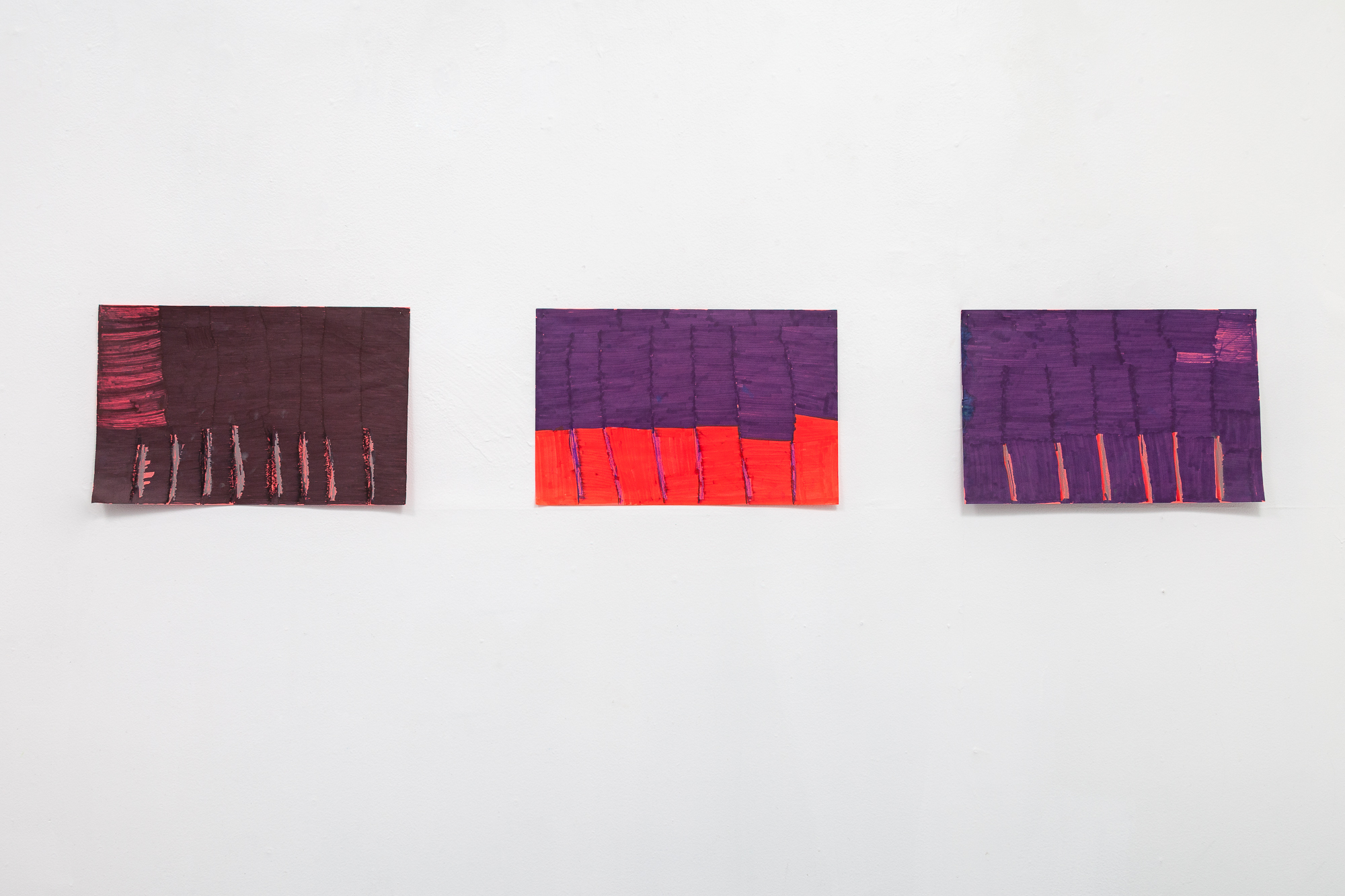 "Maria Vanik,  Black Rain, Purple Red, Purple Gray , 2018, Marker on Paper, 17"" x 11"