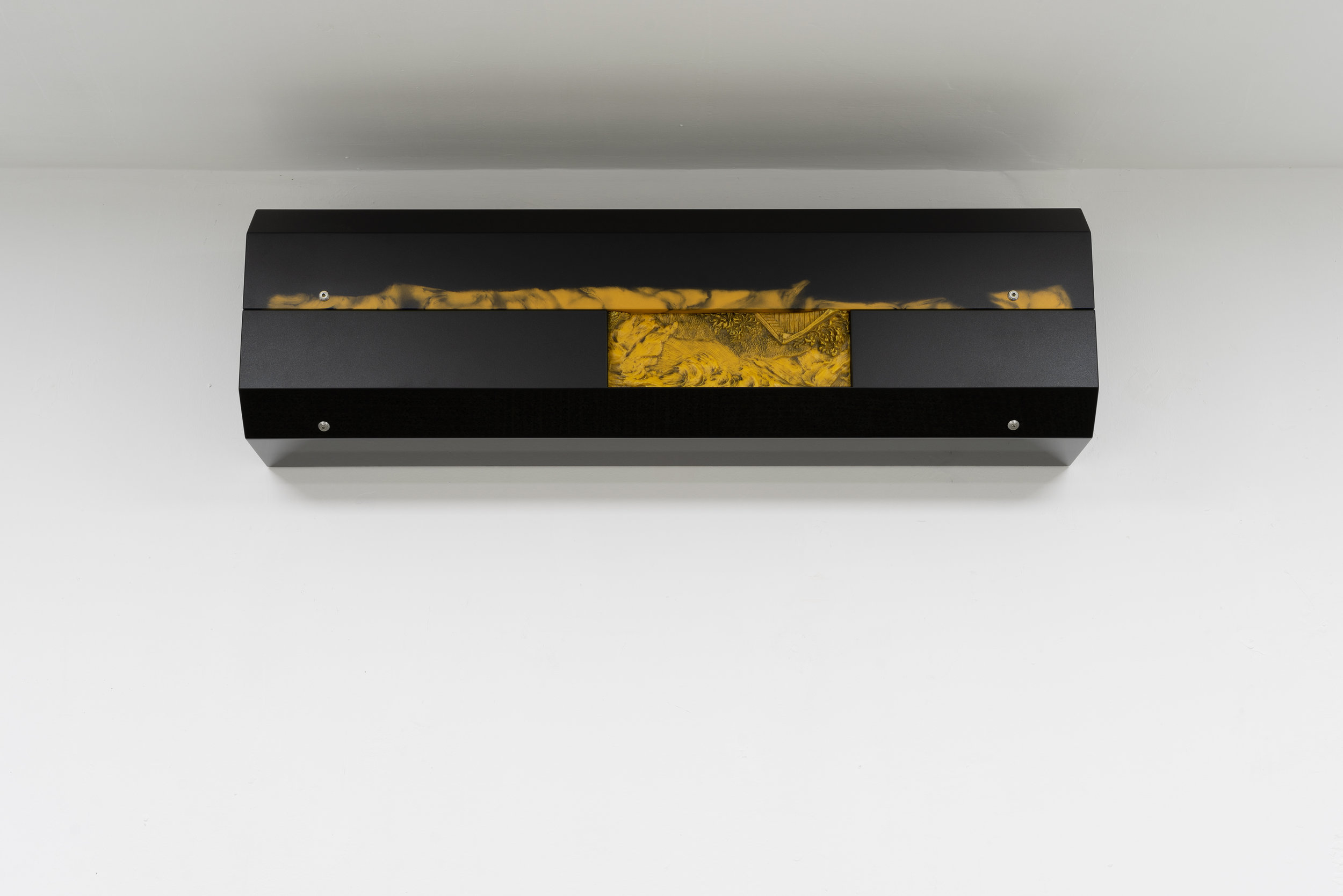 Philip Seibel,  Radiator (The Yellow Mill),  2019, 104 x 30 x 20 cm, Mdf, found and altered wax relief, PUR paint, UP resin, oil paint, screws