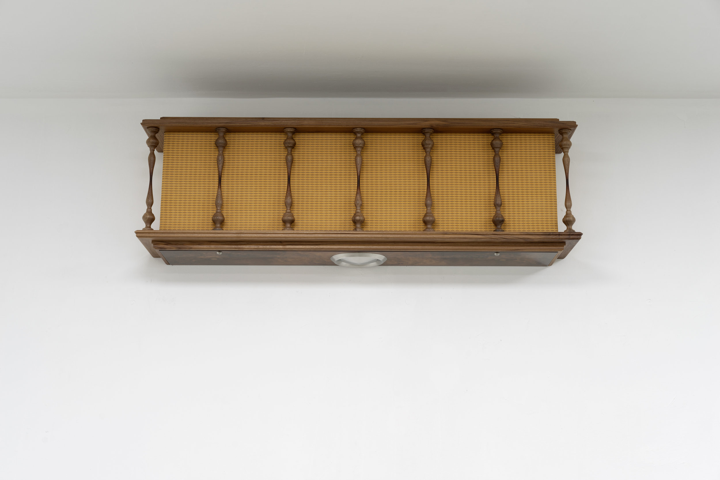 Philip Seibel,  Radiator (Columns),  2019, 106 x 32 x 21 cm, walnut wood, mdf, veneer, PUR paint, UP resin, speaker cloth, stainless steel vent cover, screws