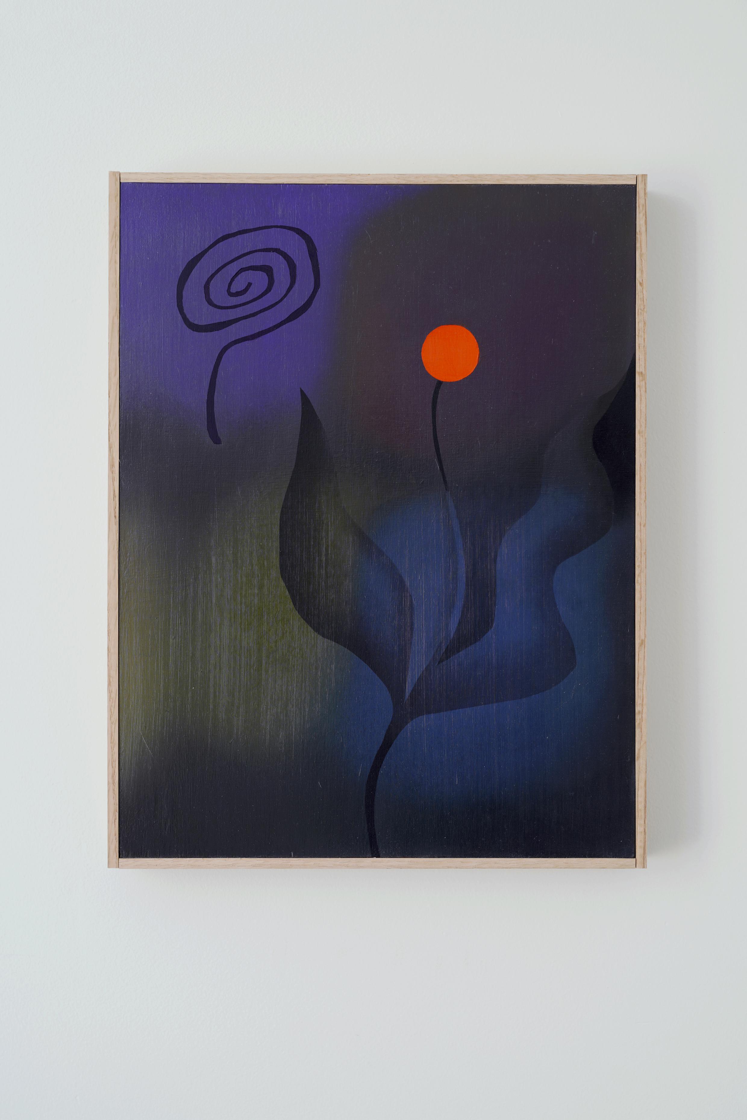 "Simone Blain,  Flower and Spiral,  2019, Oil on board, 12"" x 16"""