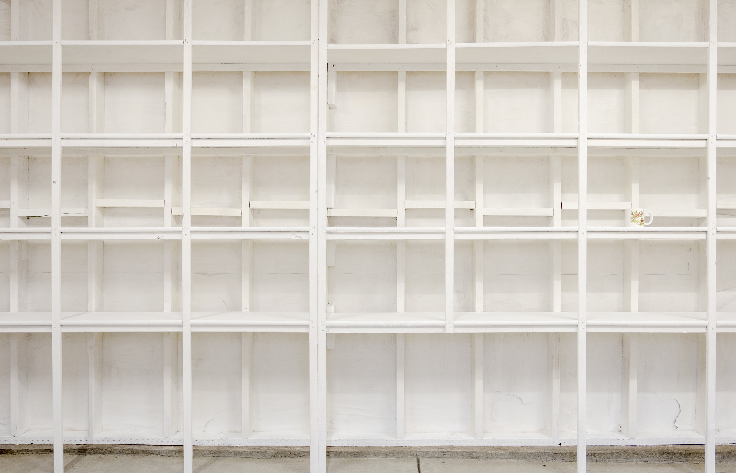 Haynes Riley,  Case Study/Storage Unit,  2019, built-in shelves, coffee mug, 96 × 193.5 × 11.5 in