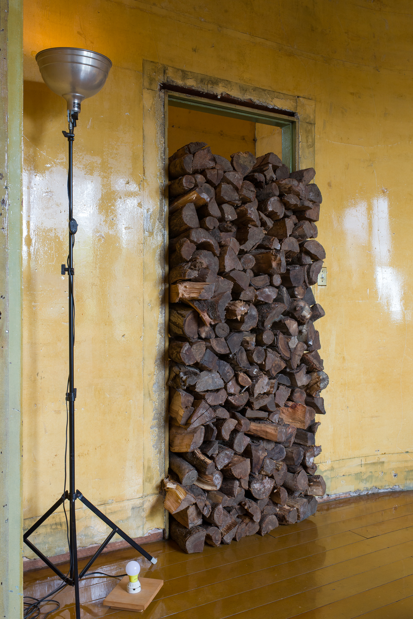 David Ireland,  500 Capp Street (interior view with logs in doorway) , 1987. Wood, 80 x 33 x 15 inches. Remade for the exhibition Amulet or He calls it chaos, 2019; Photo: Preston/Kalogiros; Courtesy of The 500 Capp Street Foundation.