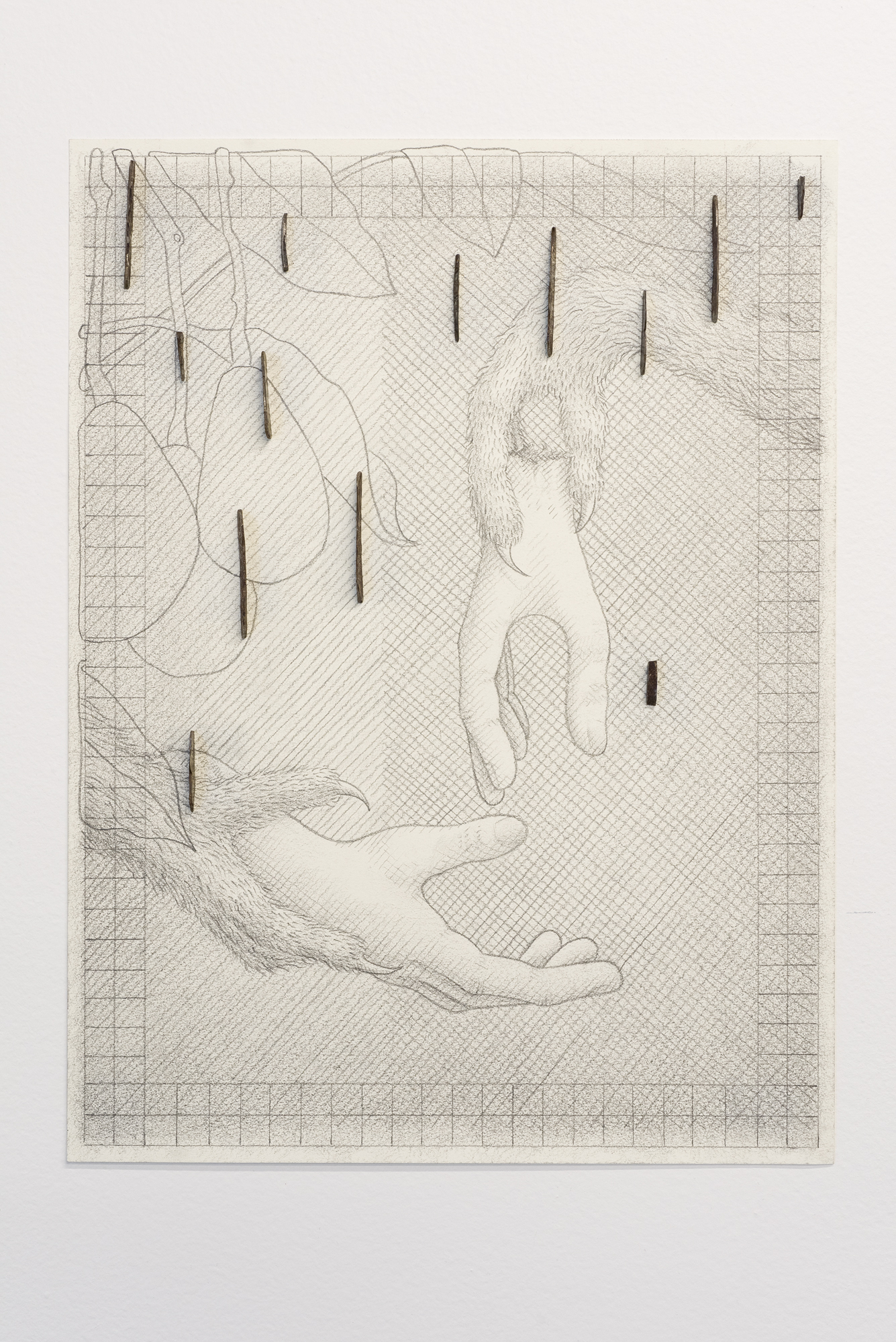 Jorge Satorre,  Sometimes I use images in my work that might be embarrassing to me, my family or my dealers,  2019. Pencil on paper, steel, magnets. Courtesy of the artist and Labor, Mexico; Photo: Preston/Kalogiros; Courtesy of The 500 Capp Street Foundation.