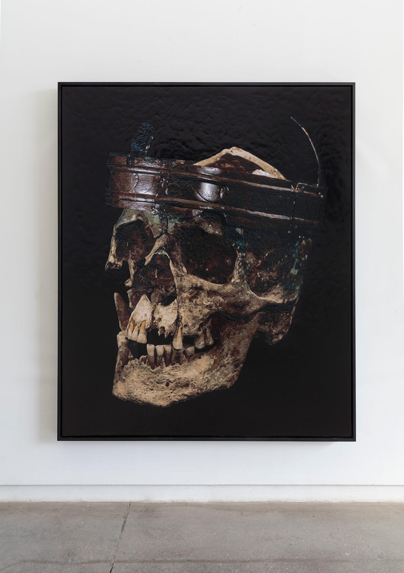 Dorian FitzGerald,  Iron Age Skull and Crown (Warrior or Druid), Kent, United Kingdo m, 2017, acrylic on canvas mounted to board, 78 x 68 inches