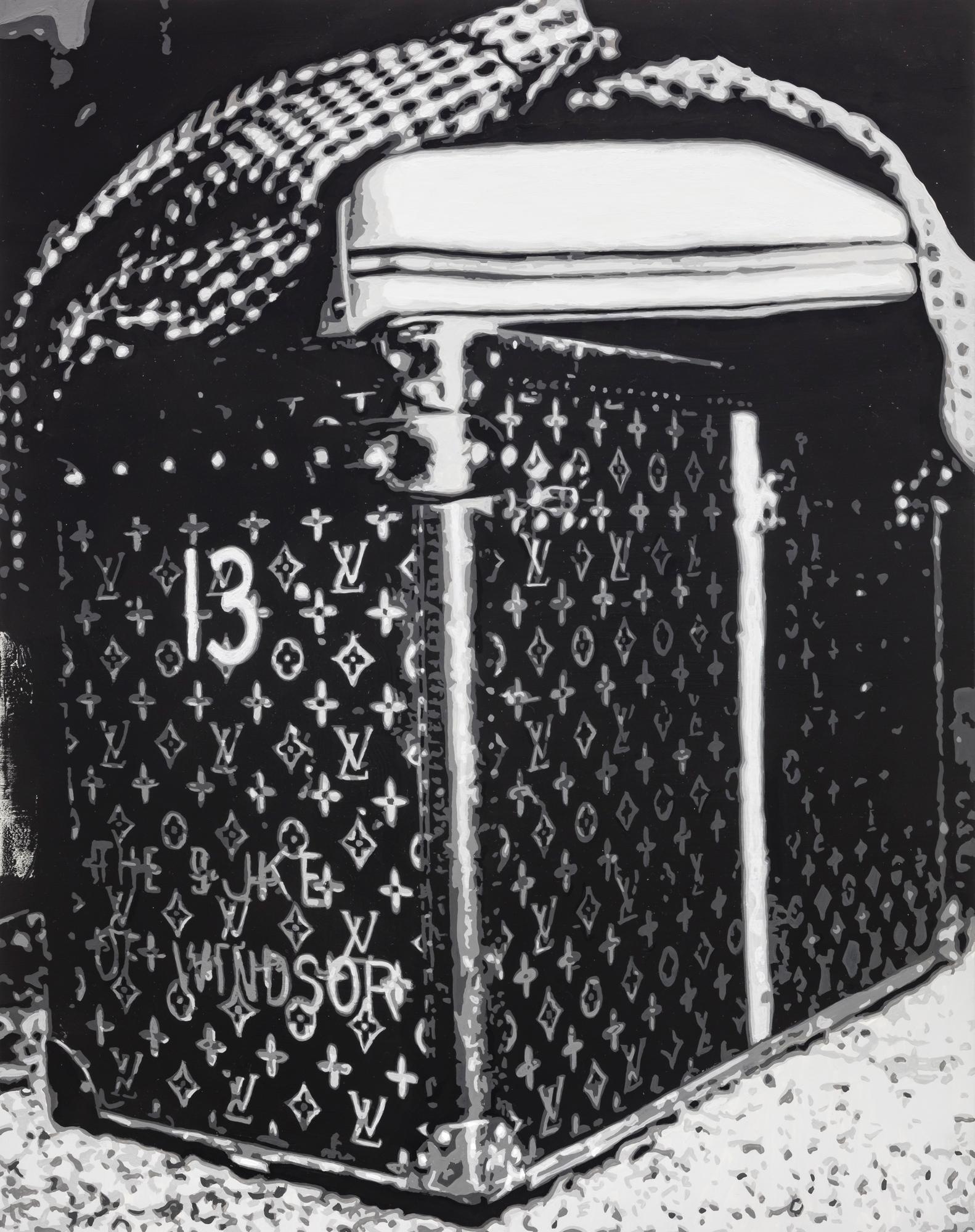 Dorian FitzGerald,  Luggage Trunk, Edward VIII, Duke of Windsor   2019, holbein acryla gouache on board, 14 x 11 inches