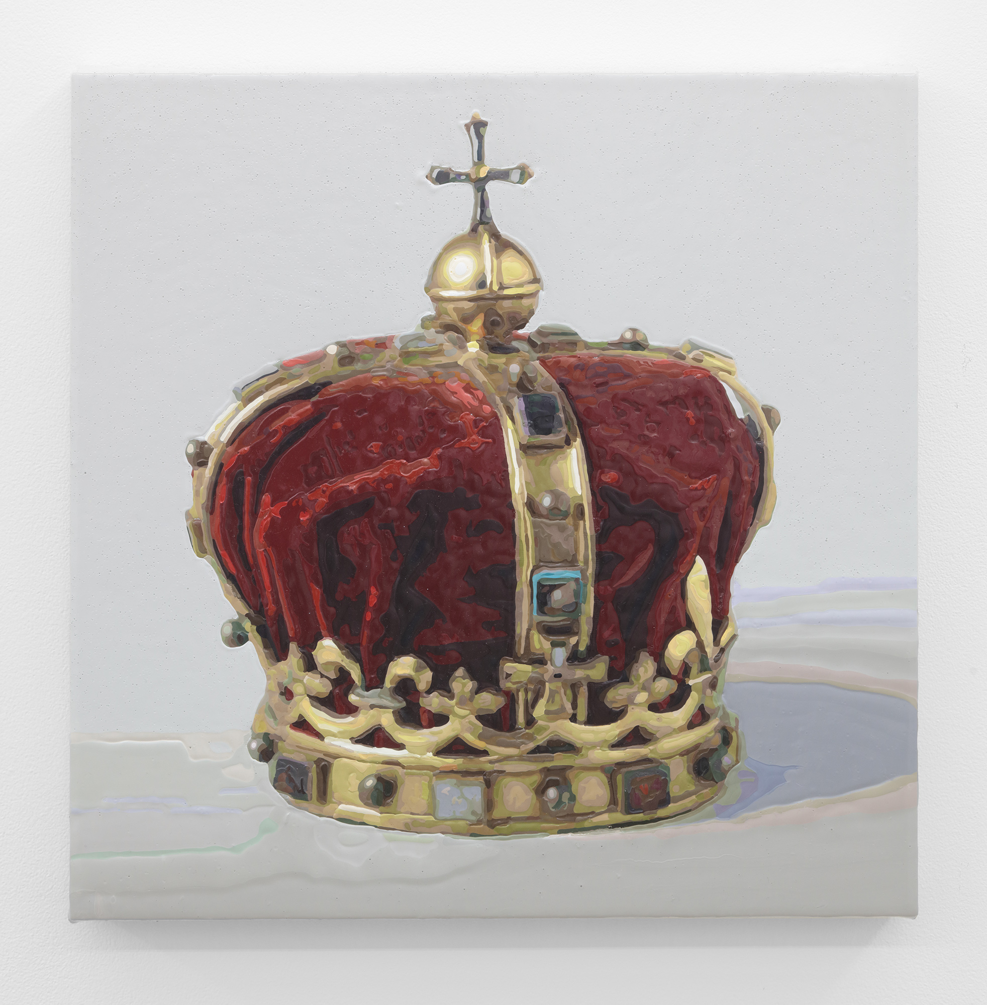 Dorian FitzGerald,  Crown For The King Of Adra, circa 1664 . 2019, acrylic on canvas mounted to board, 16 x 16 inches