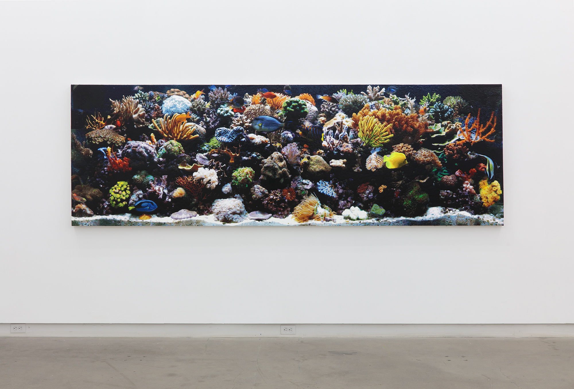 Dorian FitzGerald,  Aquarium (Taboo) , 2019, acrylic on canvas mounted to board; unique , 30 x 128 inches