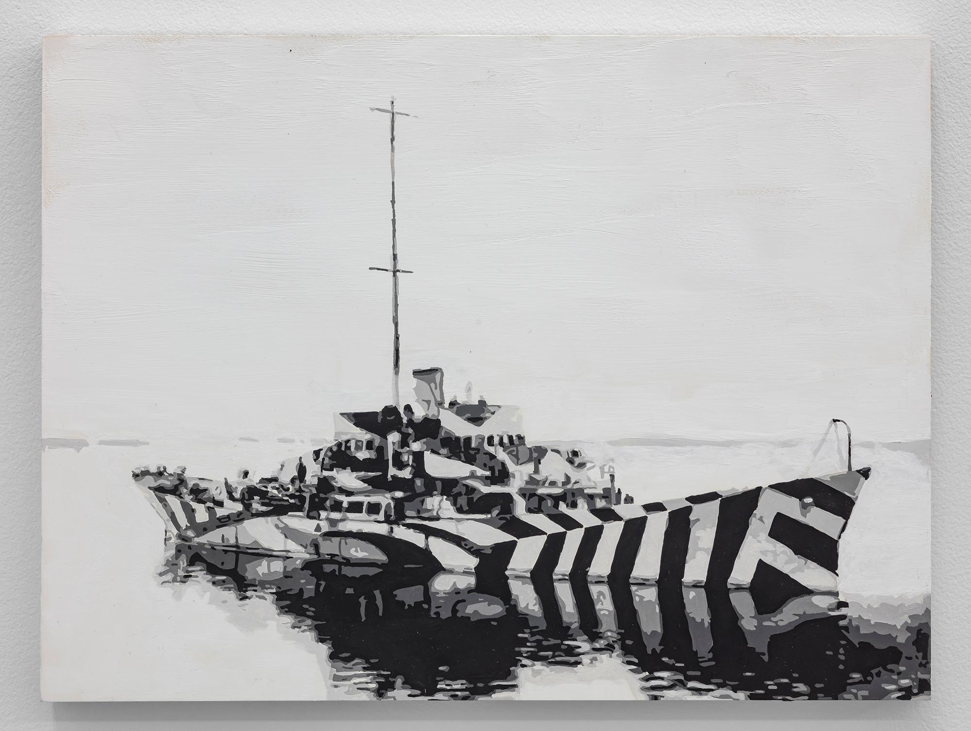 Dorian FitzGerald,  HMS Kilbride, Milford Haven, 13 January, 1919  , 2019 holbein acryla gouache on board, 9 x 12 inches