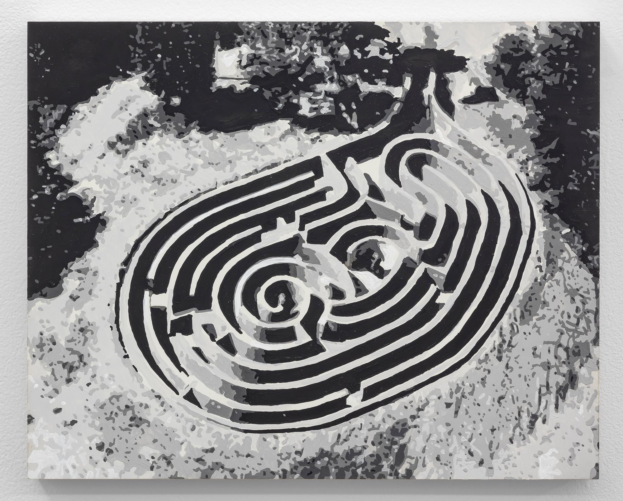 Dorian FitzGerald,  The Maze, Armand G. Erpf Estate, Arkville, New York   2019, holbein acryla gouache on board, 8 x 10 inches