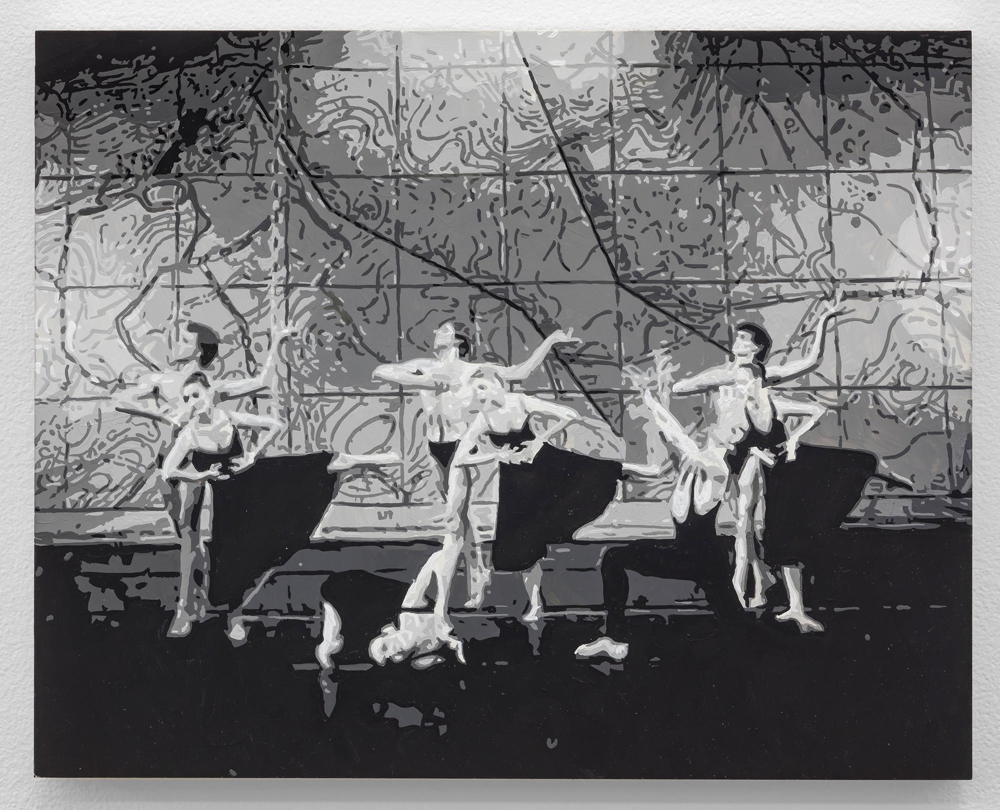 Dorian FitzGerald,  Bat-Dor Dance Company, Joyce Theatre, New York, 1983,  2019, holbein acryla gouache on board, 8 x 10 inches
