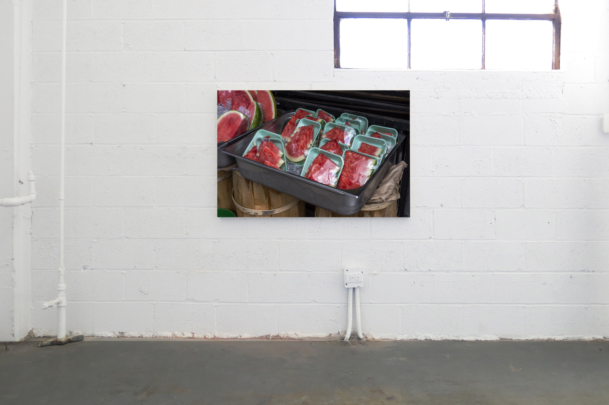 Cameron Crone,  Sliced Watermelon,  2019, Archival pigment print mounted on bass wood panel, 50 x 33 x 2""