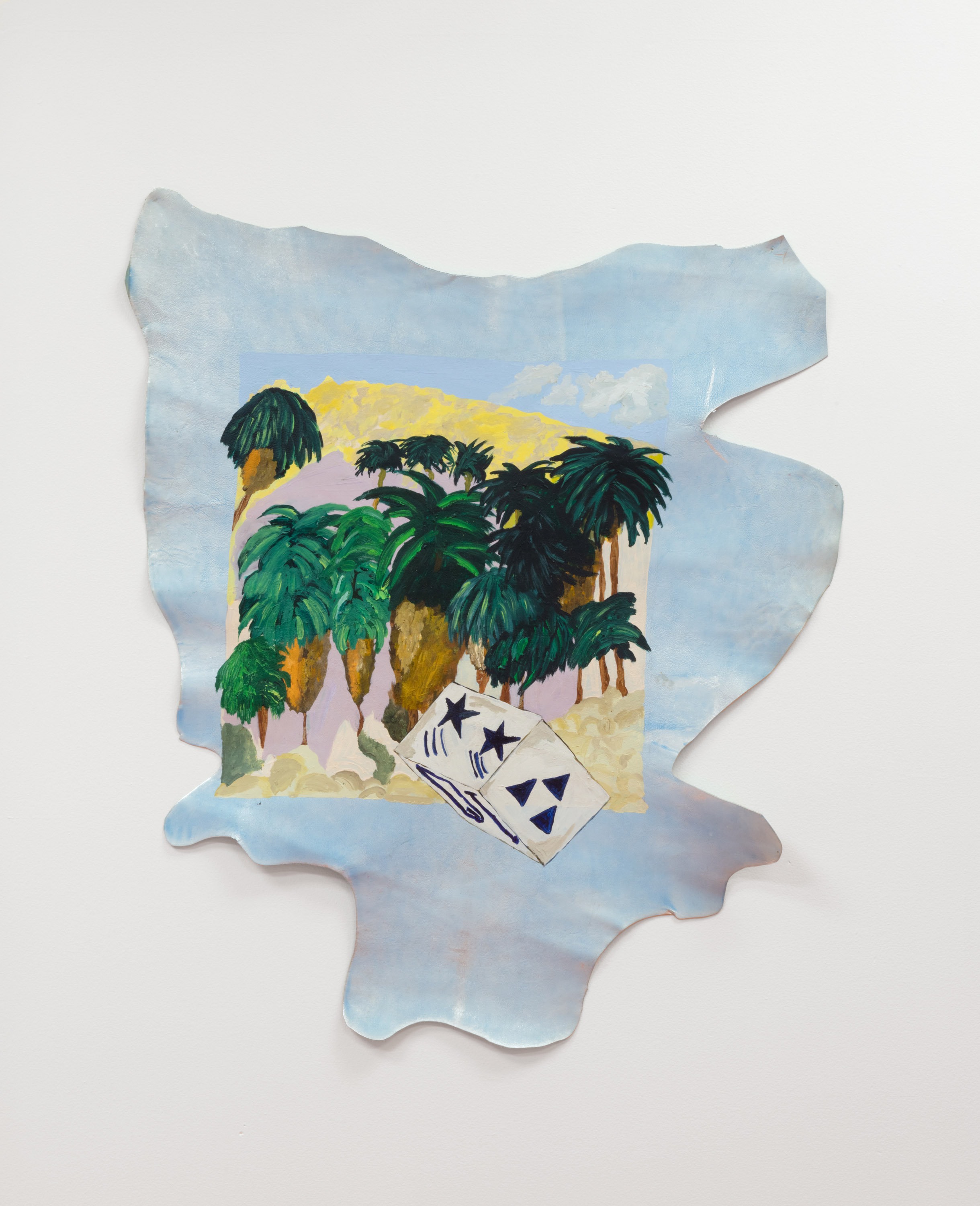 Micah Wood,  29 Palms Oasis , 2019, acrylic on leather, 36 x 29 inches