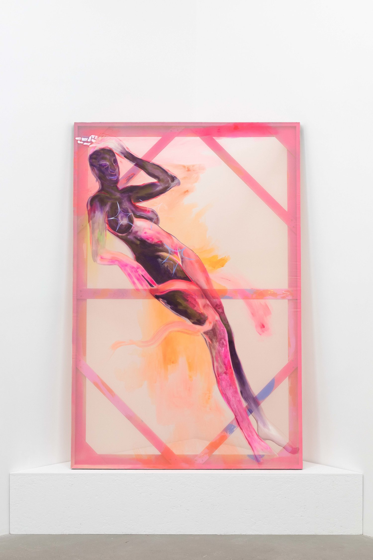 Curtia Wright, Held together by own gravity , 2019 Oil and acrylic on Organza fabric 72 x 48 in (182.9 x 121.9 cm)