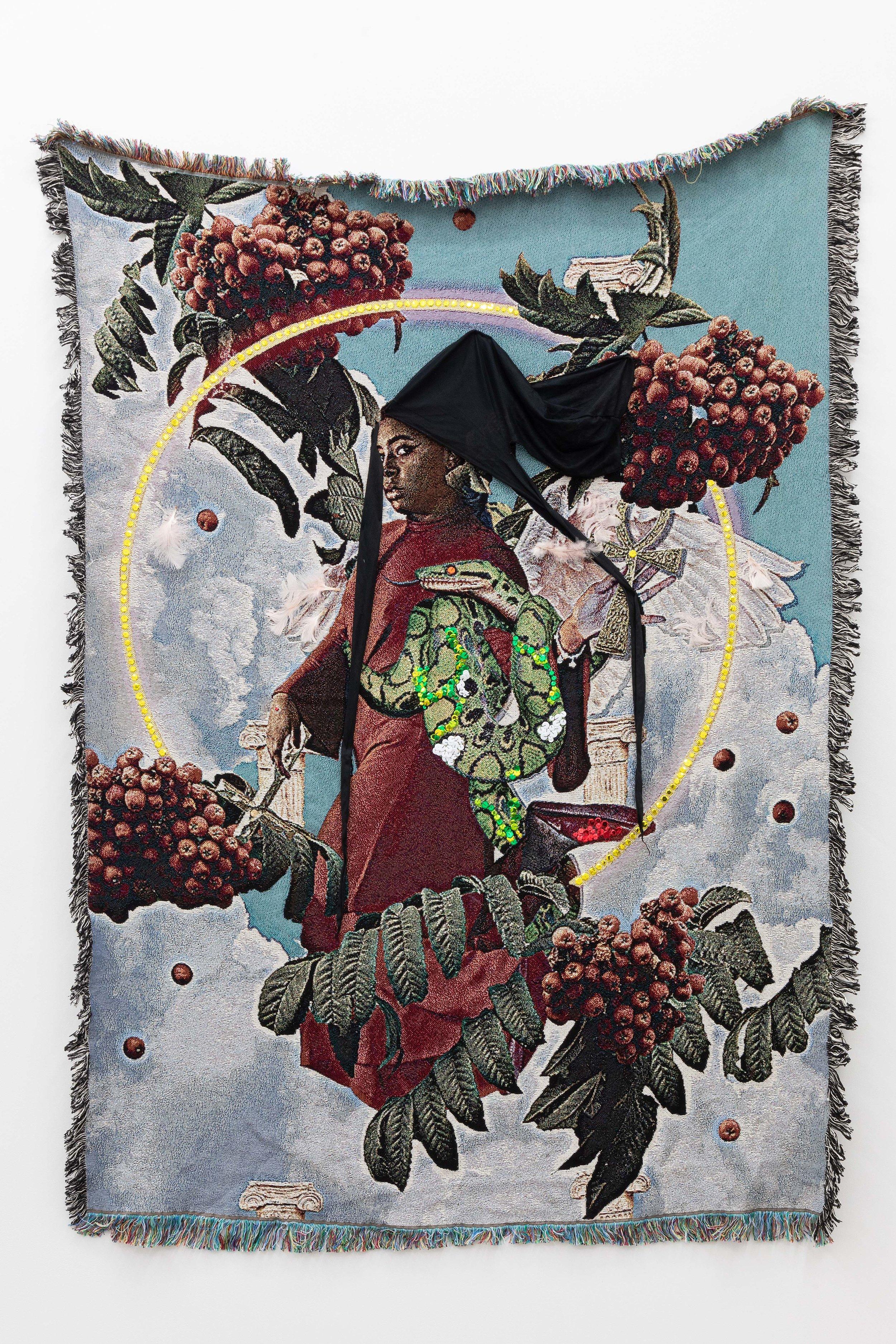 Qualeasha Wood,  Test of Faith , 2019 Jacquard, sequins, durag, feathers 74 x 51 in (188 x 129.5 cm)
