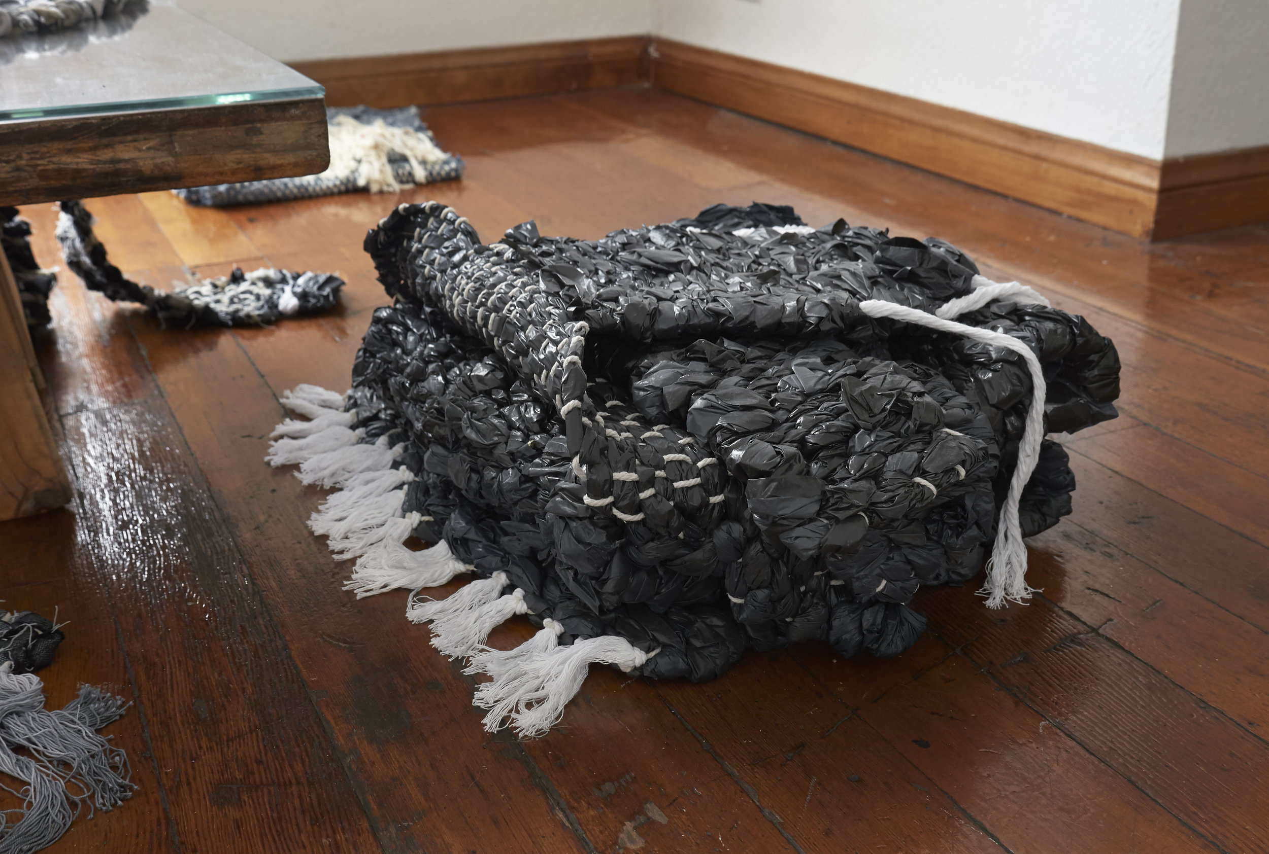 """Hatsuko"", 2019, Nina Wiesnagrotzki, hand-woven carpets, different fabrics and plastic foil, strings"