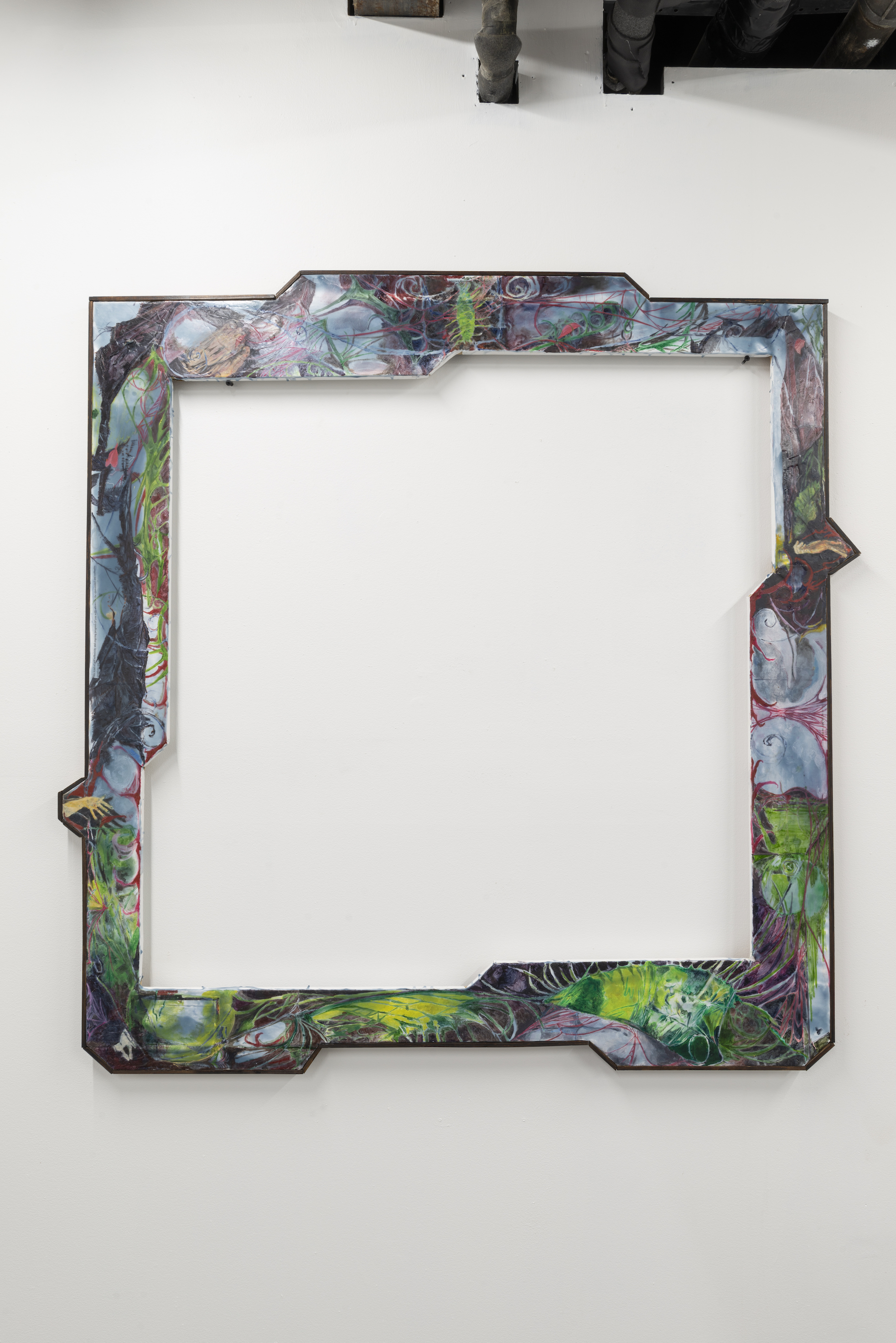 Nikholis Planck,  Interview Questions,  2019, Water soluble oil and collage on wax on canvas mounted to wood in walnut stained artist frame 46.75 x 46.5 inches