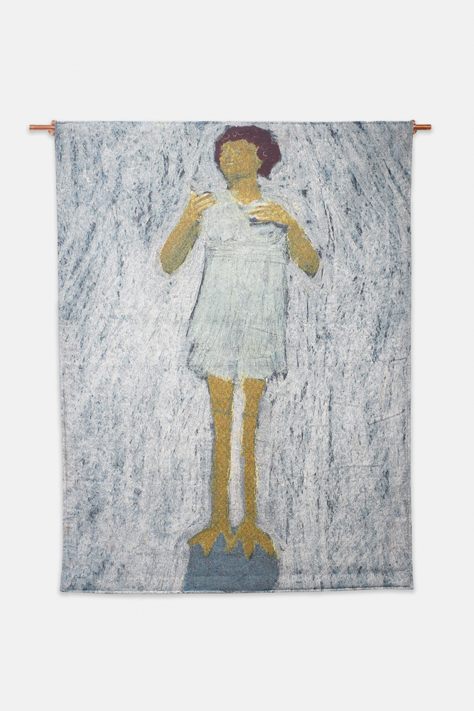 "Listen to Me , 2019, Cotton Jacquard tapestry, 40""x53"" as shown"