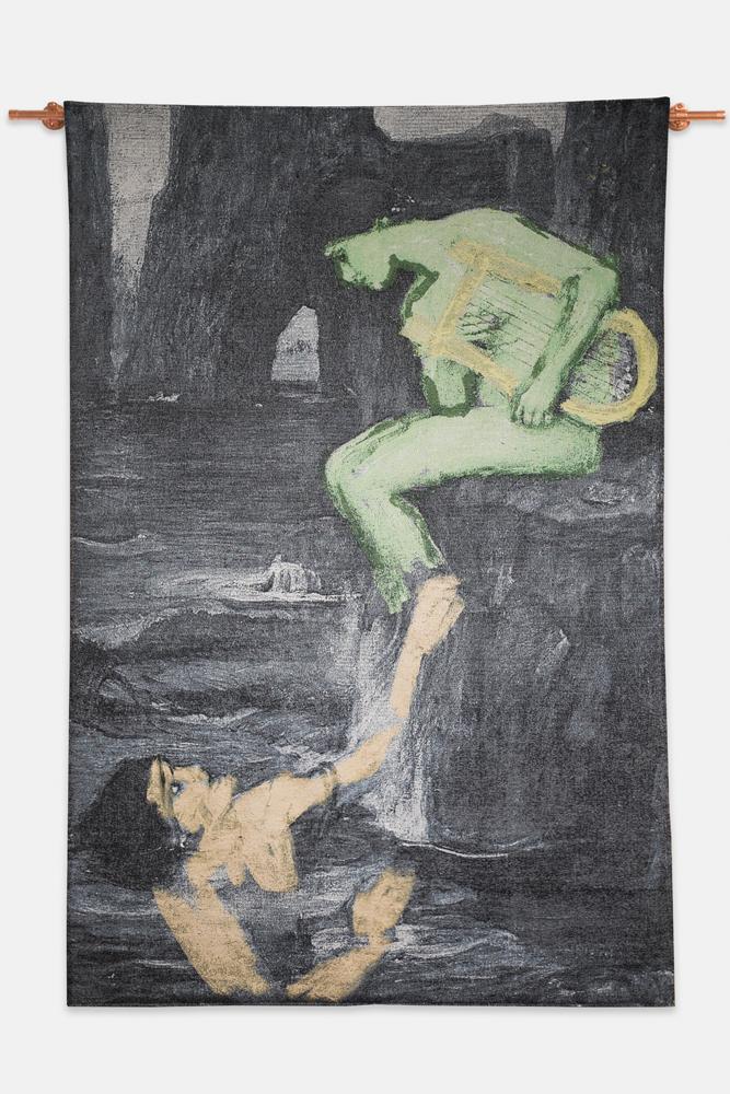 "Cognitive Seduction , 2019, Cotton Jacquard tapestry, 53""x80"" as shown"