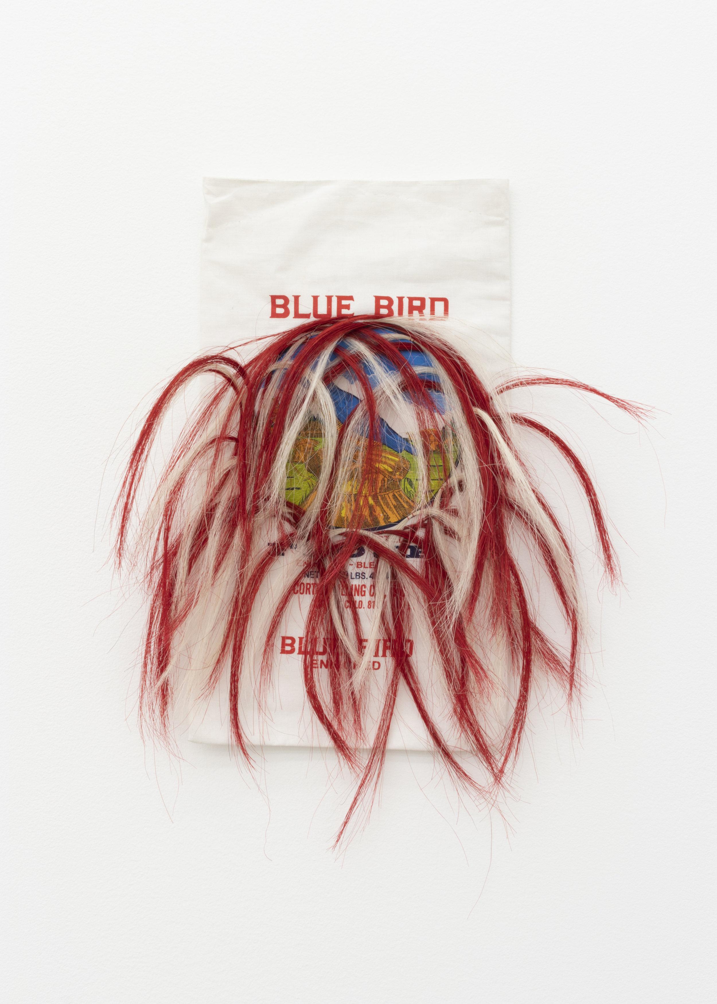 Treaty No. 16 , 2019, Blue Bird Flour Bag, horse hair, thread, 20 x 16 in.
