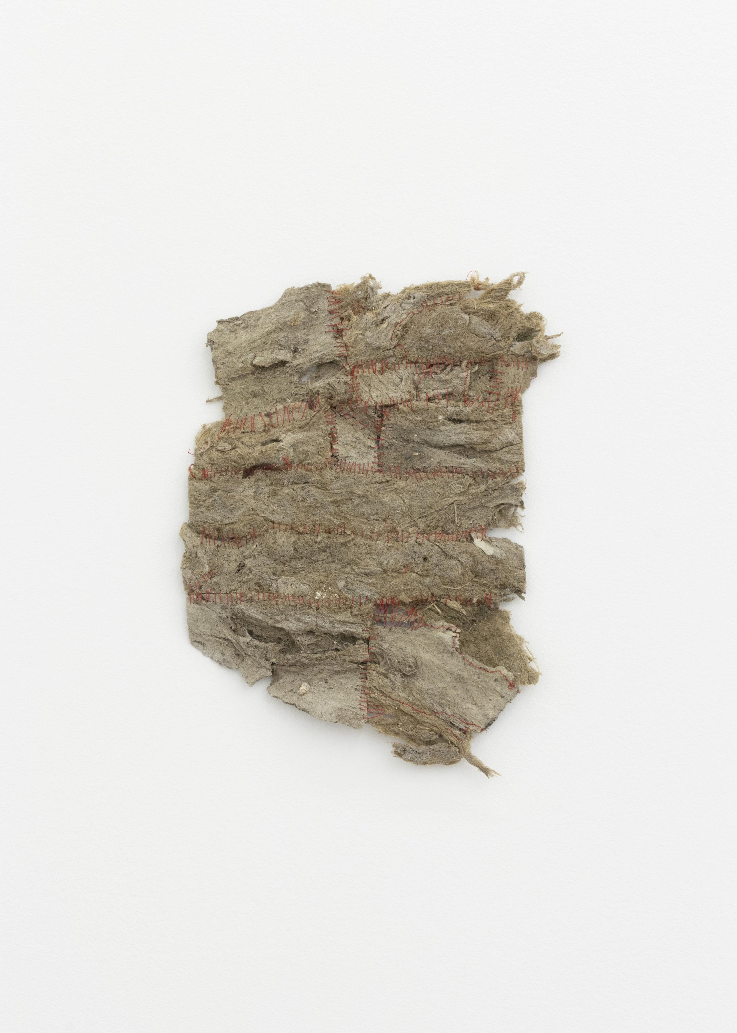 LA River Paper,  2018, naturally occuring paper (algae, leaves, bird materials), thread, 14 x 11 in.
