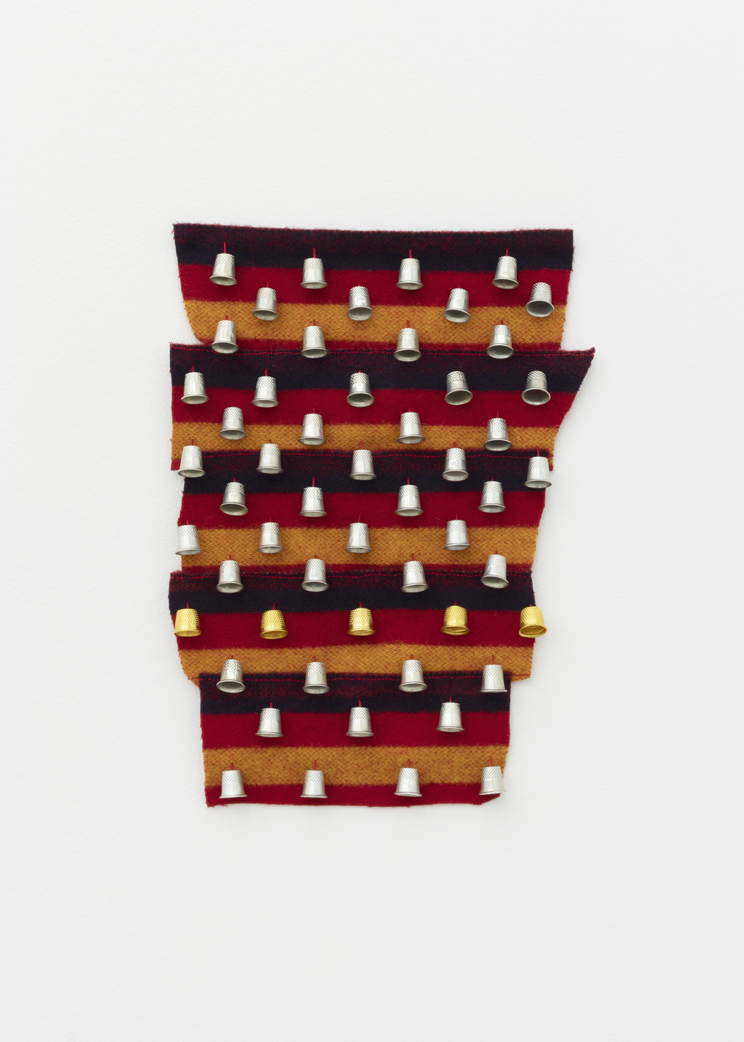 Thimblez , 2019, thimbles, thread, wool blanket scraps, 15 x 12 in.