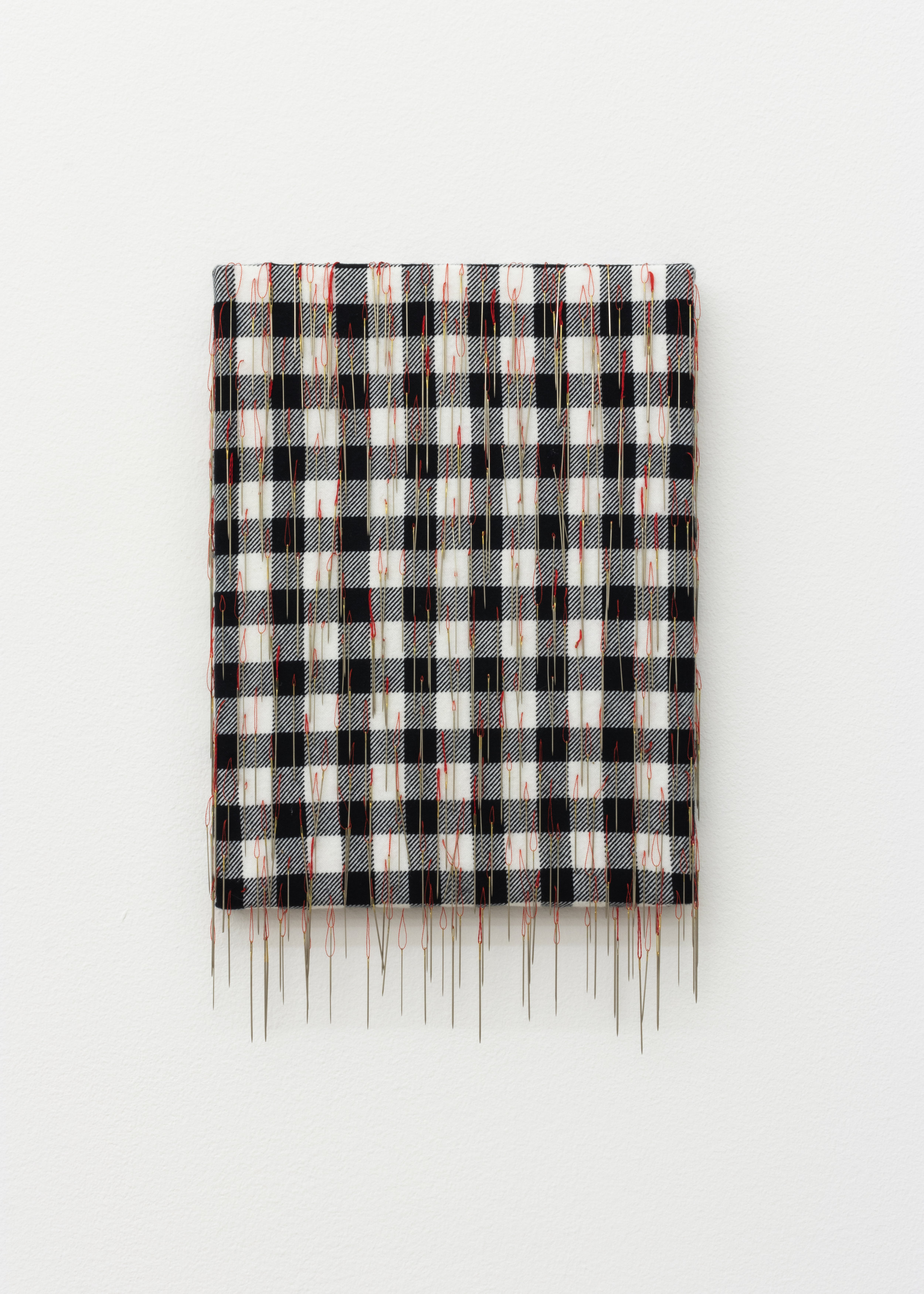 ...with a sincere desire to encourage said tribes in acquiring the arts and habits of civilized life... , 2019, 500 needles, flannel, thread, 15 x 9 1/2 in.