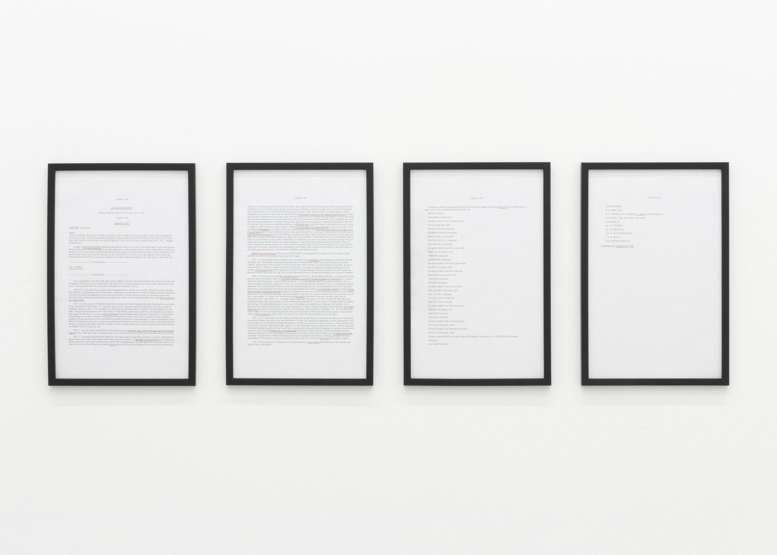 Treaty No. 8 , 2019, paper, thread, 18 x 55 in.