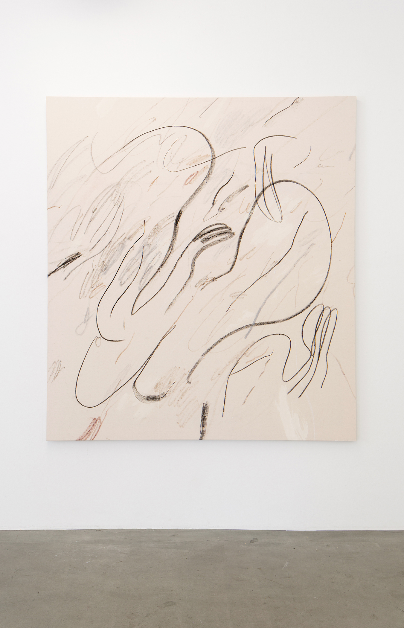 Alina Vergnano,  A Wave A Current A Name , 2019, Acrylic, oil stick and pastels on cotton, 130 x 140 cm
