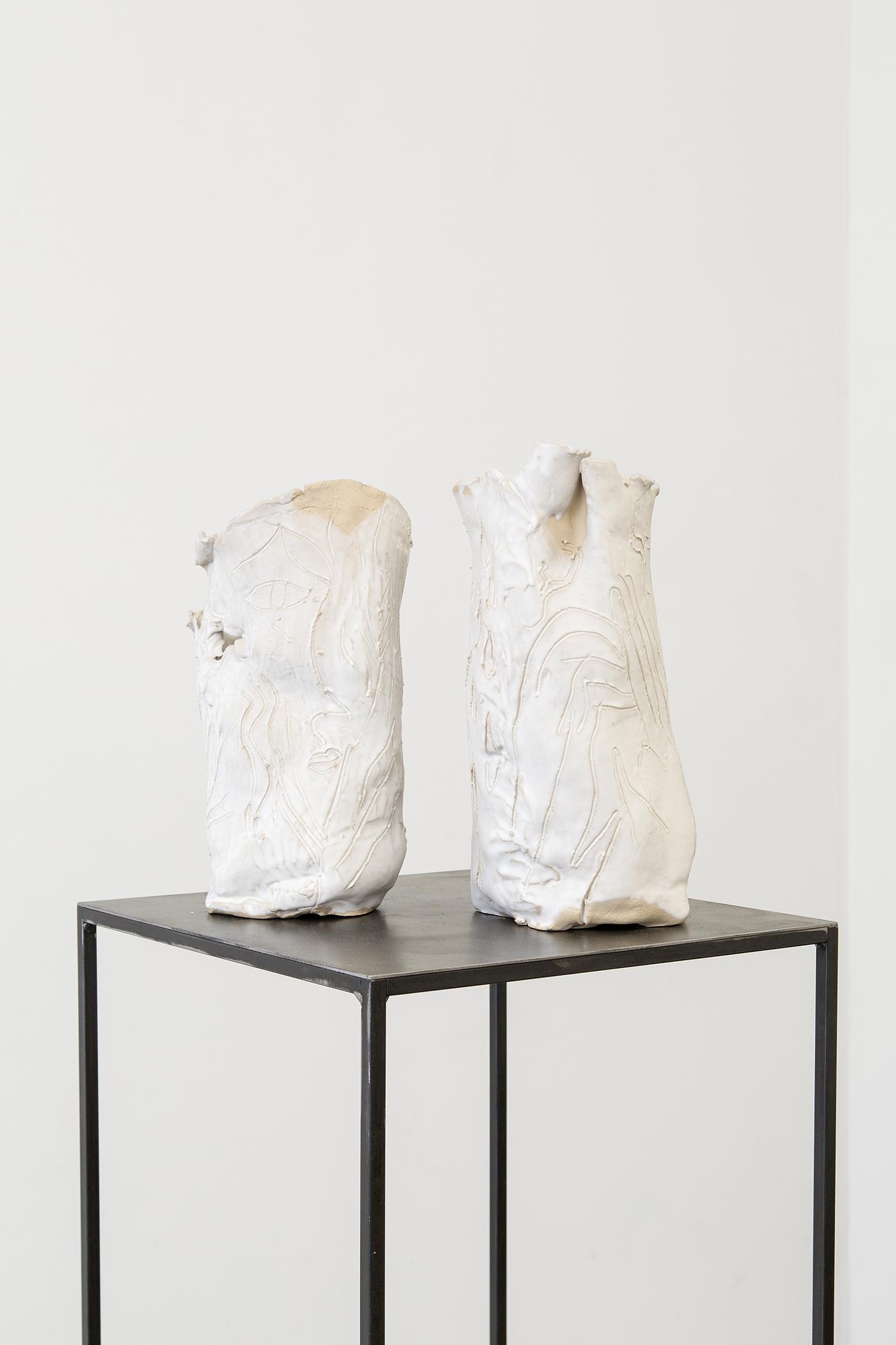Alina Vergnano,  Untitled (Vase)   I, II , 2019, stoneware, glazed, 38 x 22 cm