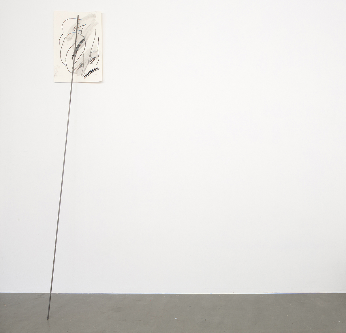 Alina Vergnano,  Untitled (Drawing) , 2019, Charcoal and pigment on paper, steel bar, 35 x 50cm