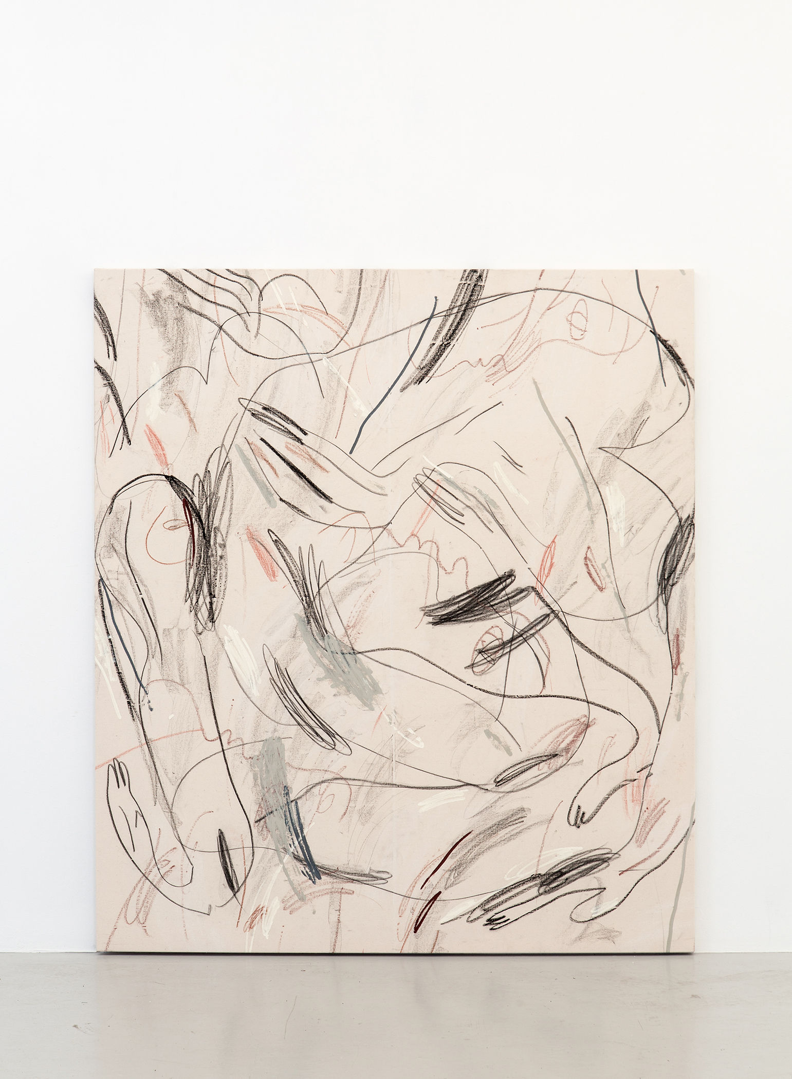 Alina Vergnano,  The Dance The Fall , 2019, Acrylic, oil stick and pastels on linen, 137 x 157 cm