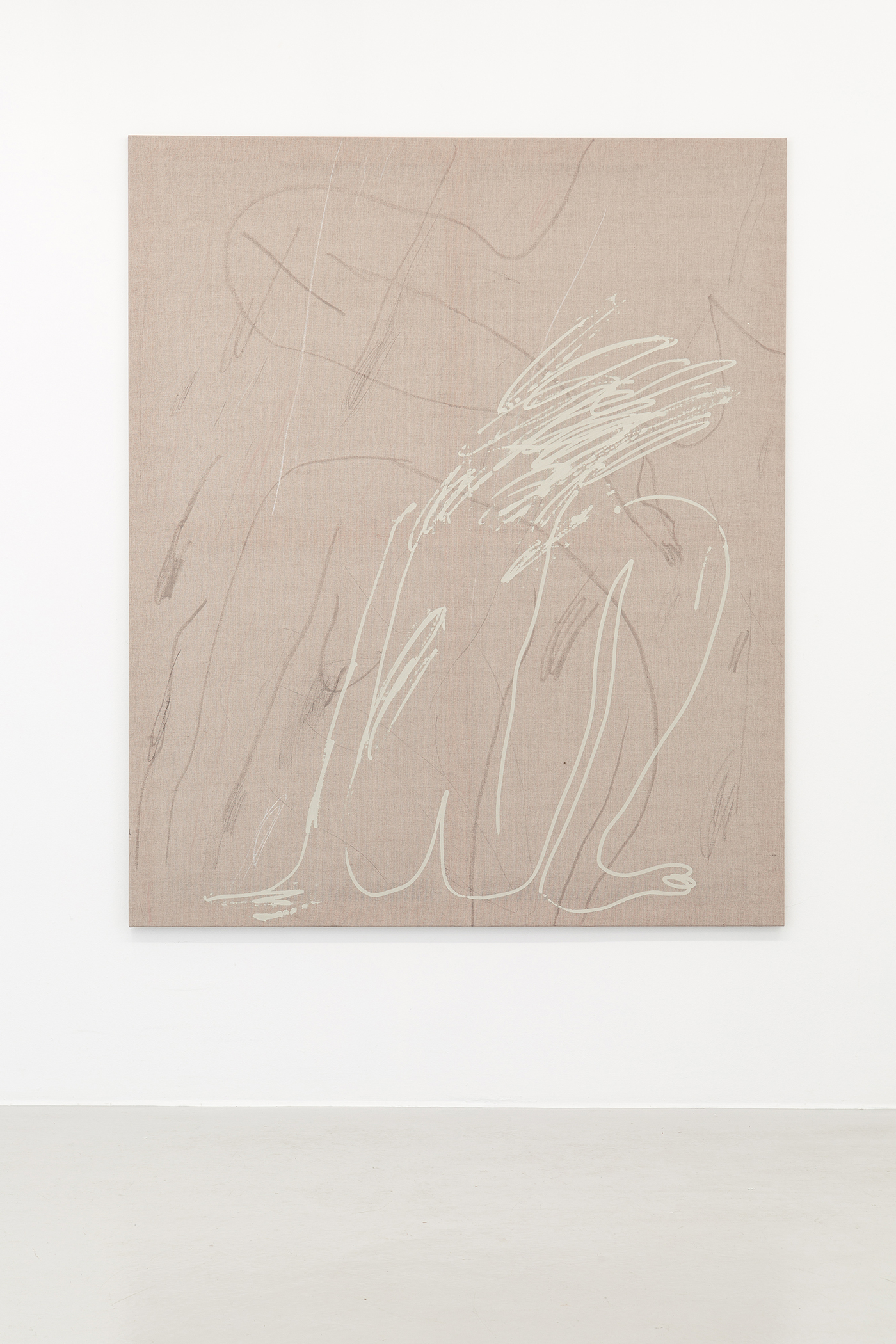 Alina Vergnano,  Scattered , 2019, Acrylic, oil stick and pastel on linen, 150 x 180 cm