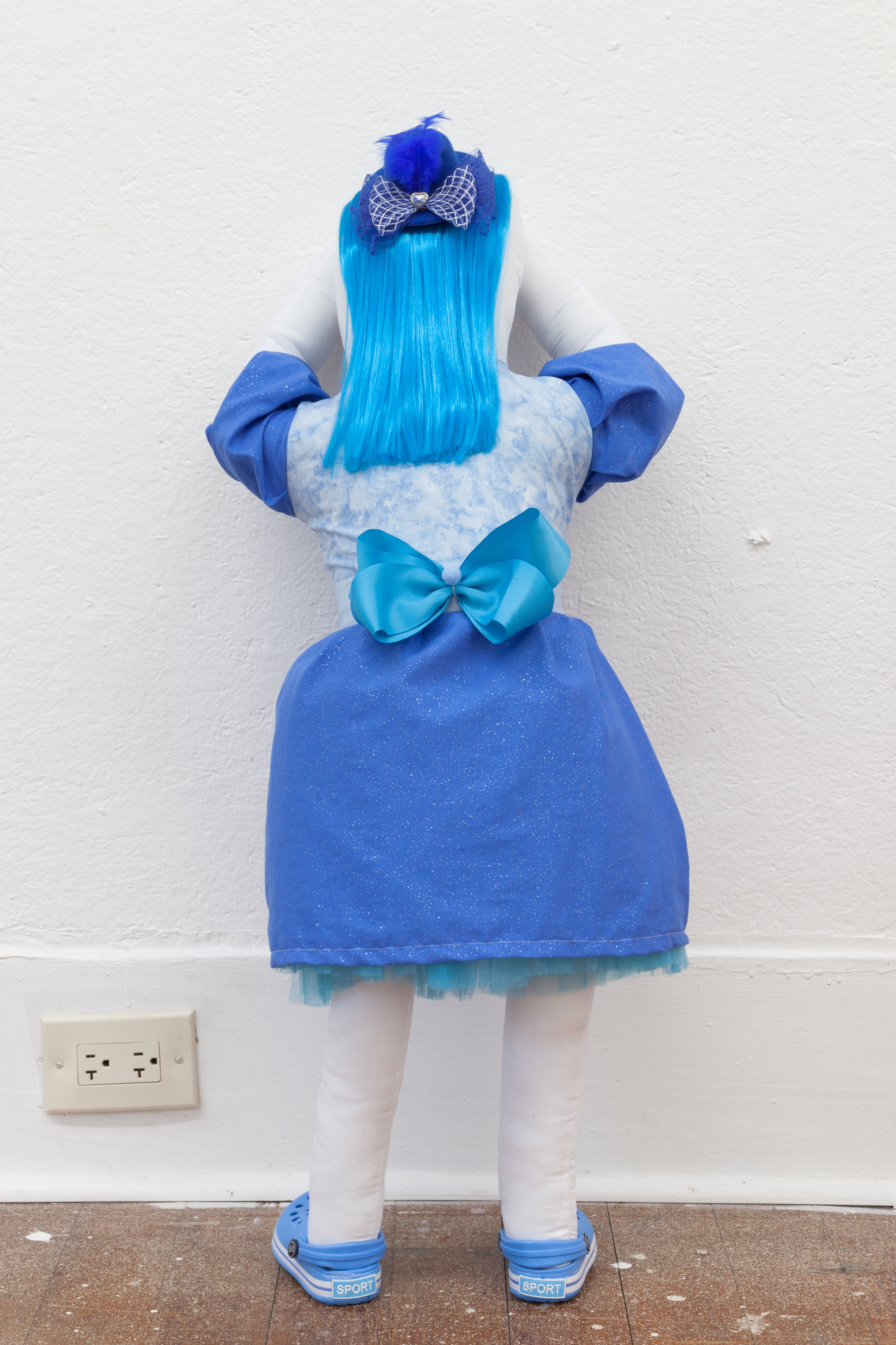 Abby Lloyd, Ana, 2019, Fabric, Poly-Fil, ribbon, hair extensions, found materials Approximately 34 x 14 inches