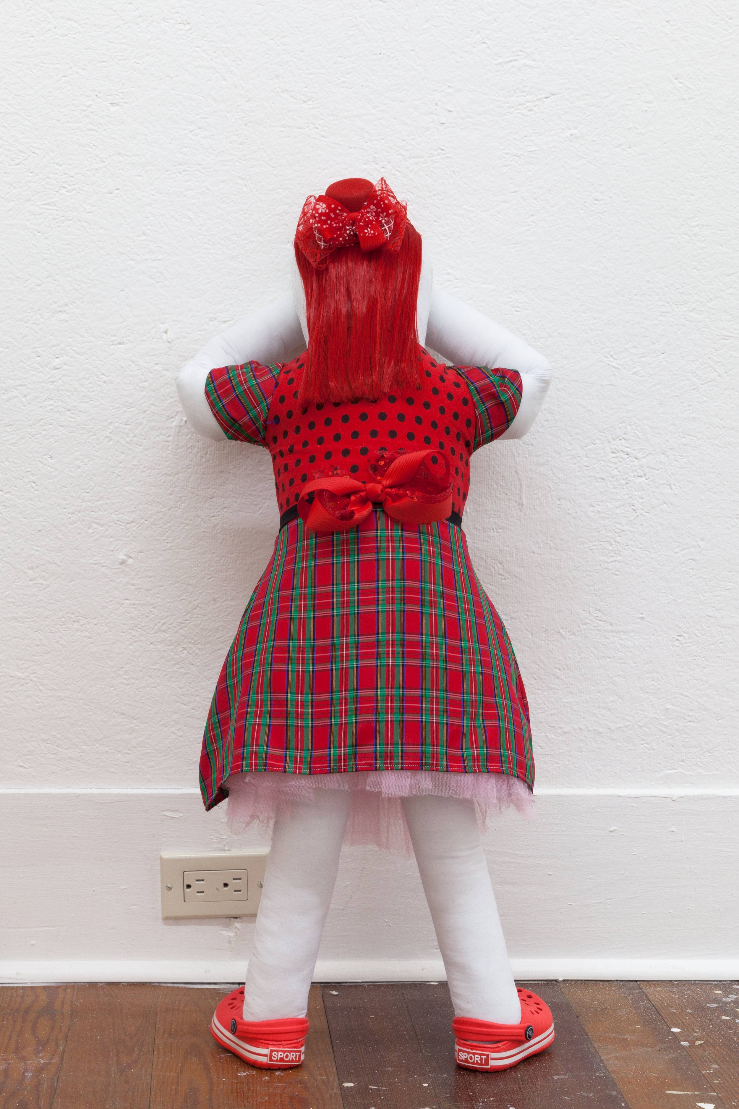 Abby Lloyd, Hadley, 2019, Fabric, Poly-Fil, ribbon, hair extensions, found materials Approximately 36 x 14 inches