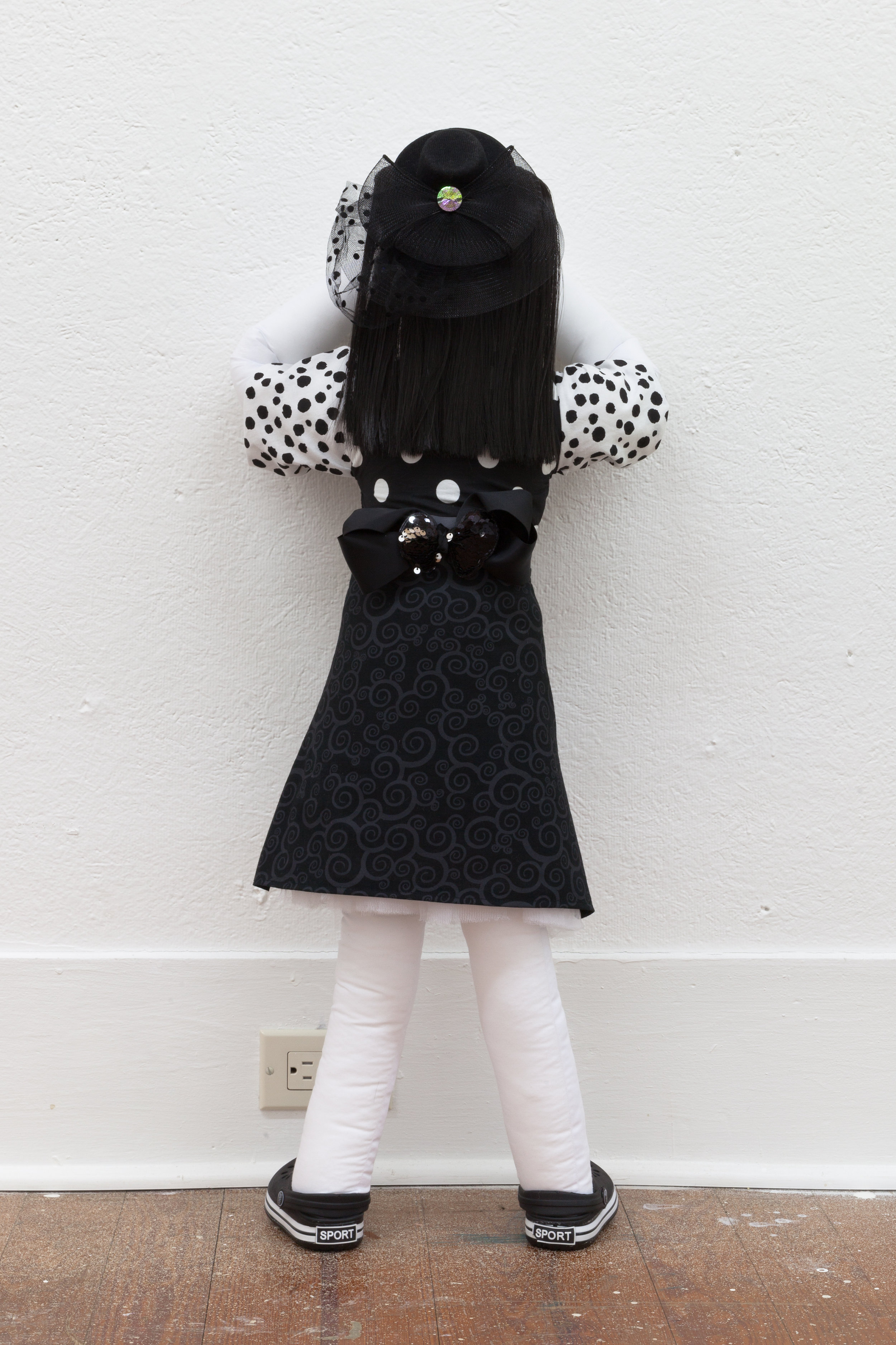 Abby Lloyd, Finoula, 2019, Fabric, Poly-Fil, ribbon, hair extensions, found materials Approximately 36 x 14 inches