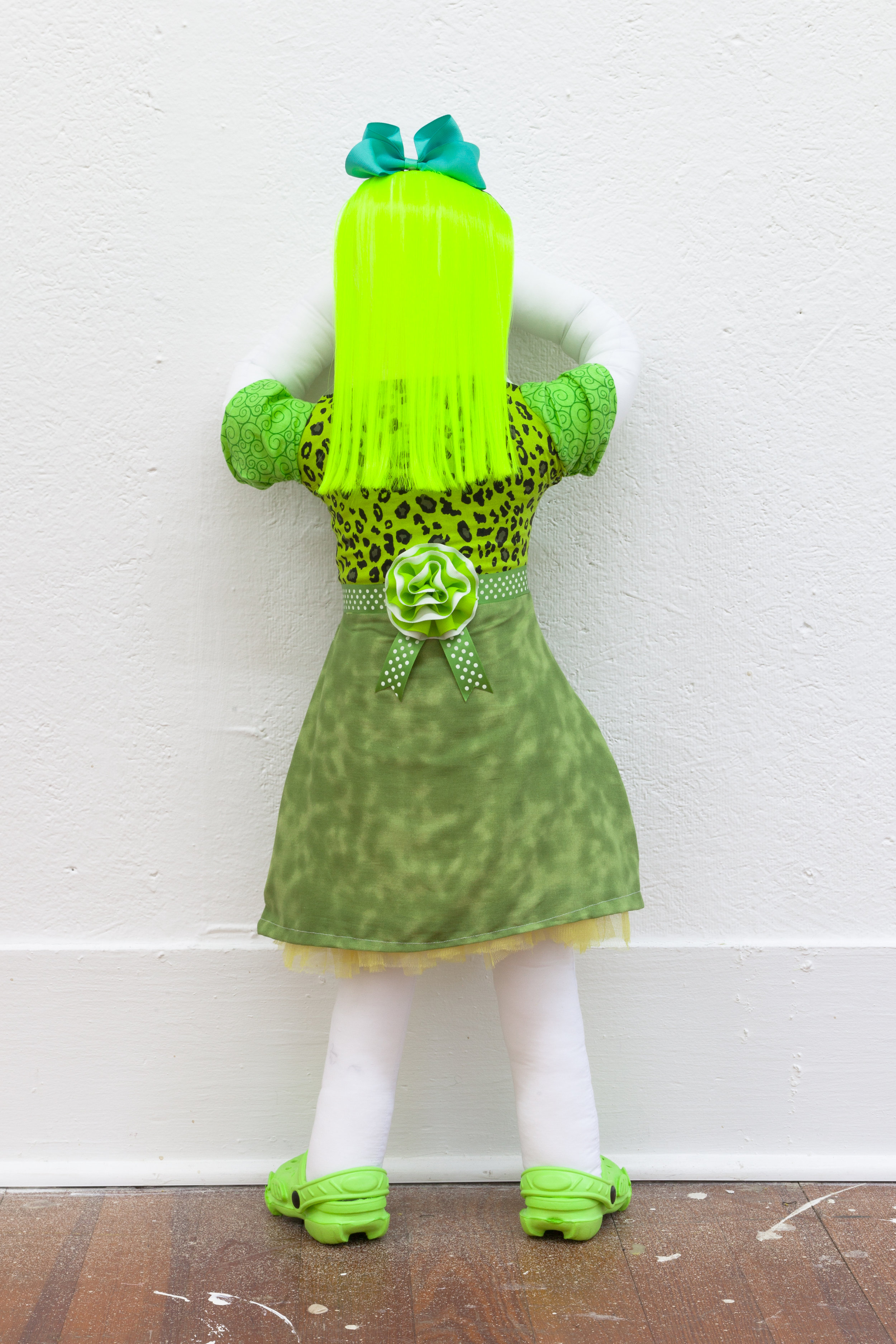 Abby Lloyd, Ruth, 2019, Fabric, Poly-Fil, ribbon, hair extensions, found materials Approximately 36 x 14 inches