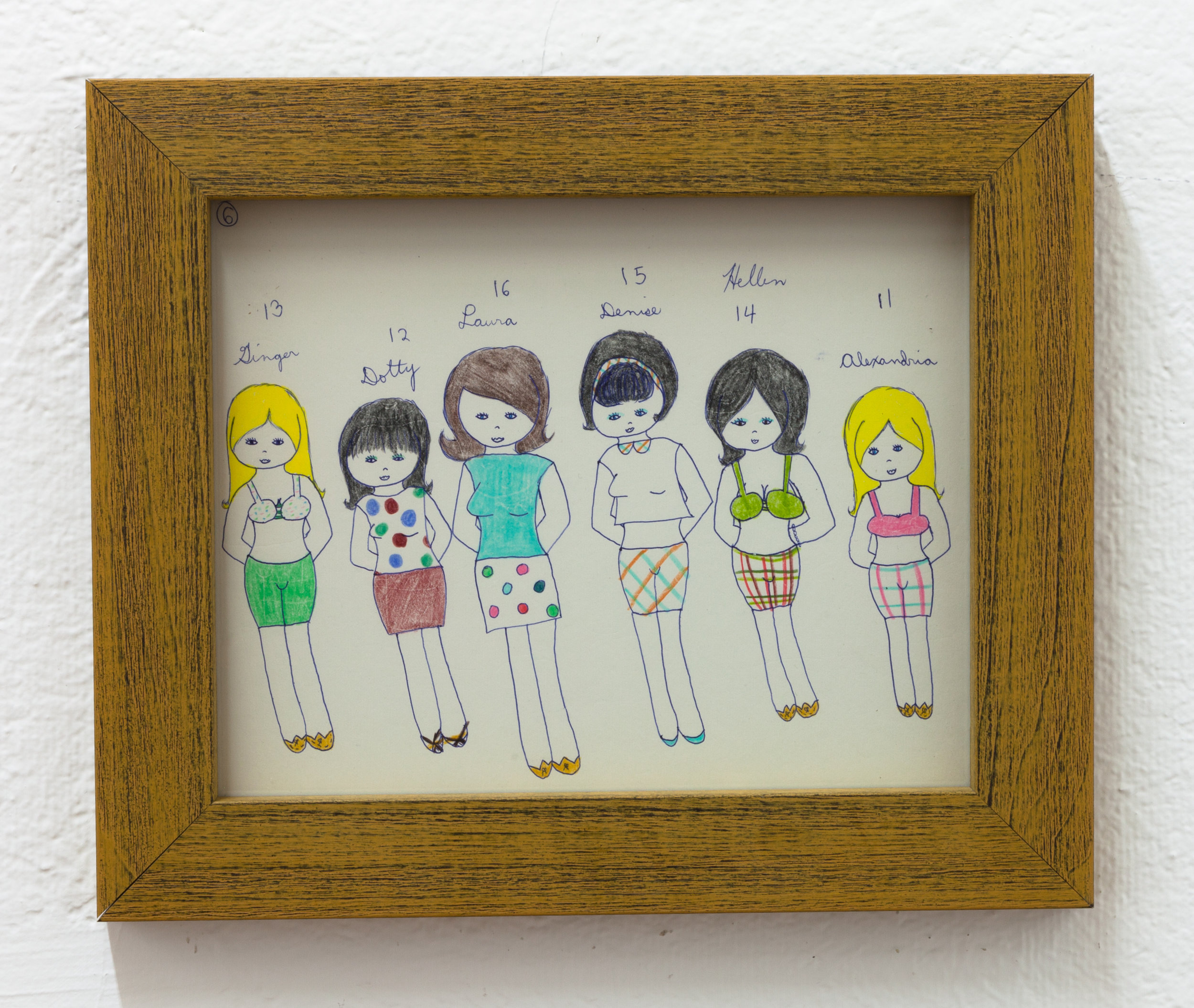 Aunt Nancy, Teen Girls, Circa 1963-1968 Pen and crayon on paper, 8 x 10 inches + frame