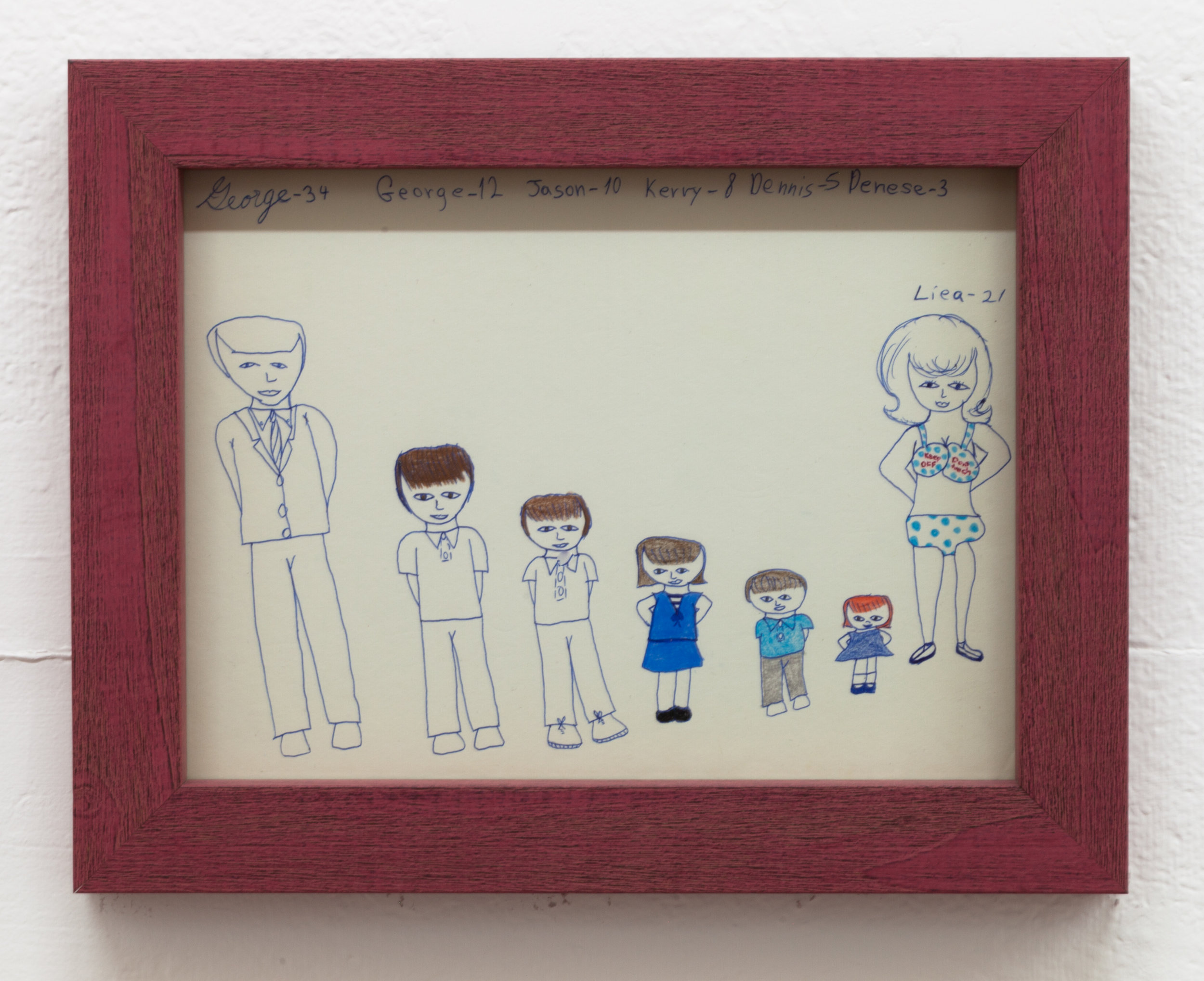 Aunt Nancy, Keep Off, Don't Touch, Circa 1963-1968 Pen and crayon on paper, 9 x 12 inches + frame