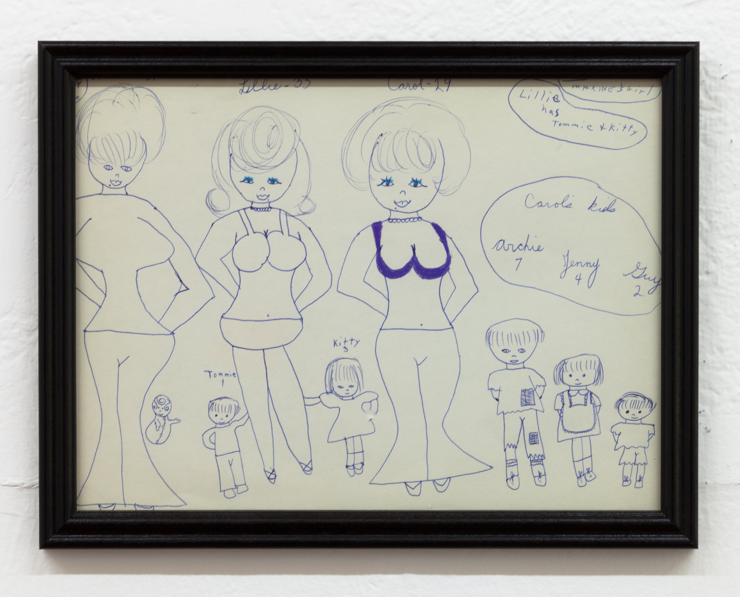 Aunt Nancy, Carol's Kids, Circa 1963-1968 Pen on paper, 9 x 12 inches + frames